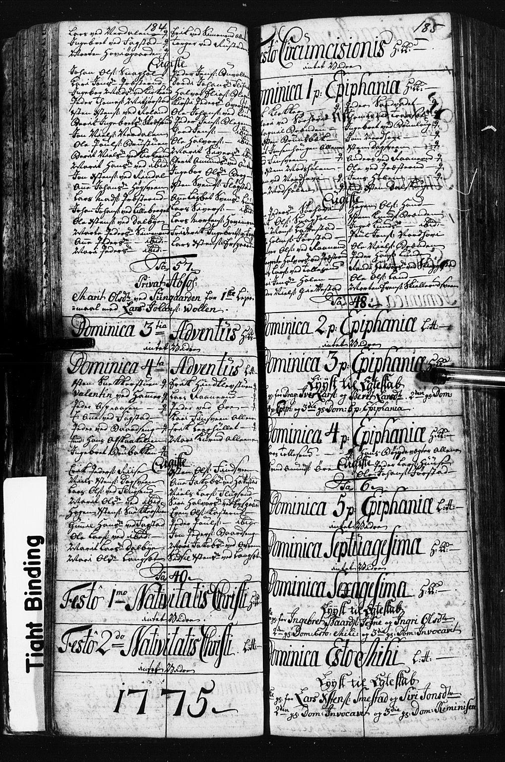 SAH, Fåberg prestekontor, Klokkerbok nr. 3, 1768-1796, s. 184-185