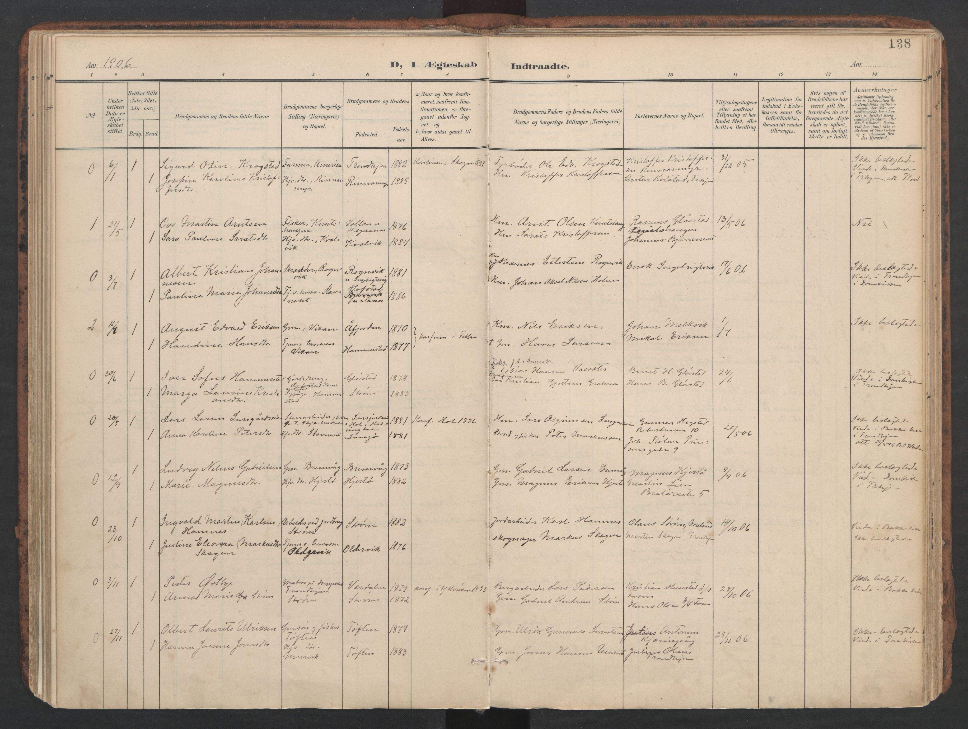 SAT, Ministerialprotokoller, klokkerbøker og fødselsregistre - Sør-Trøndelag, 634/L0537: Ministerialbok nr. 634A13, 1896-1922, s. 138