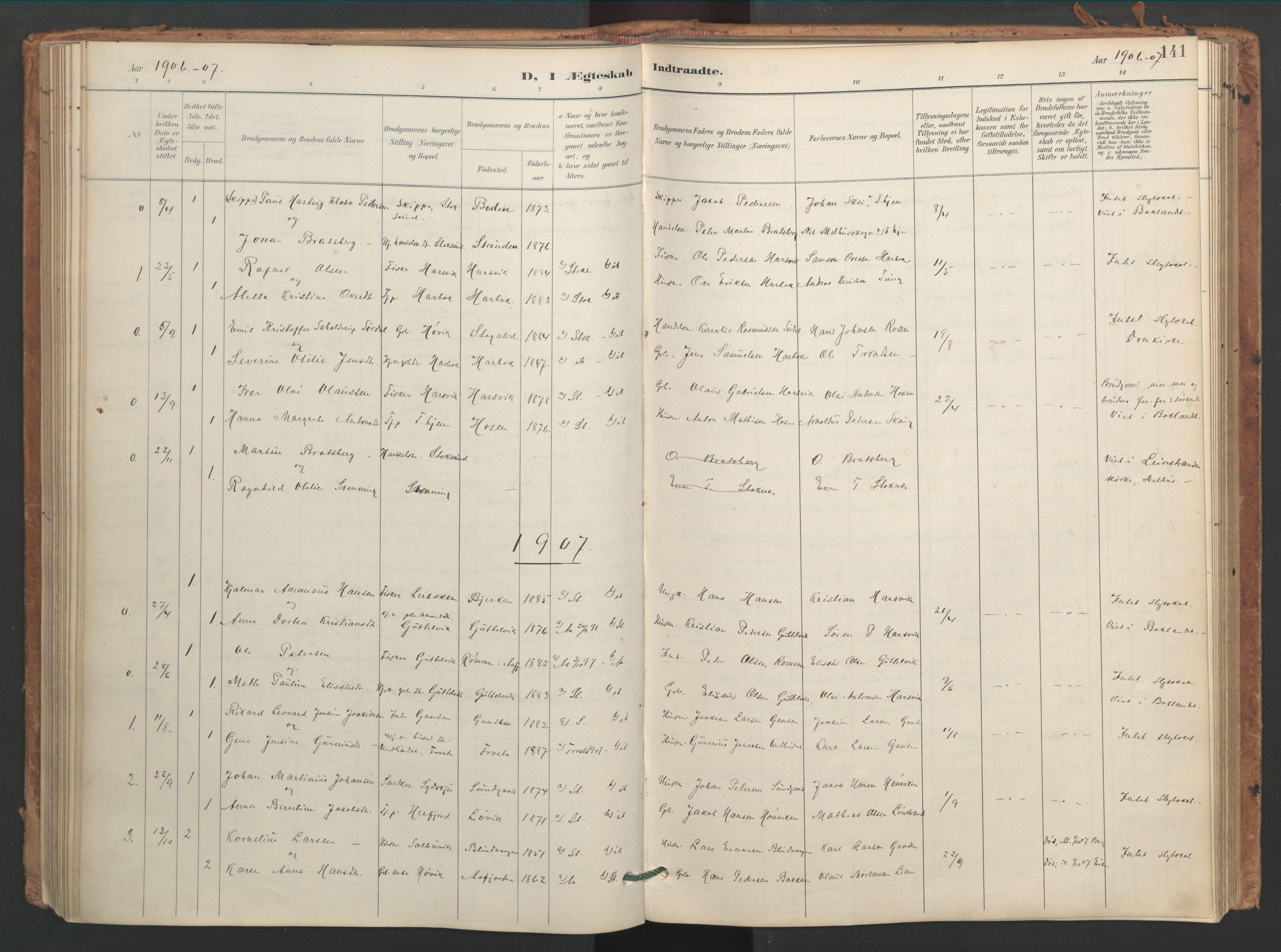 SAT, Ministerialprotokoller, klokkerbøker og fødselsregistre - Sør-Trøndelag, 656/L0693: Ministerialbok nr. 656A02, 1894-1913, s. 141