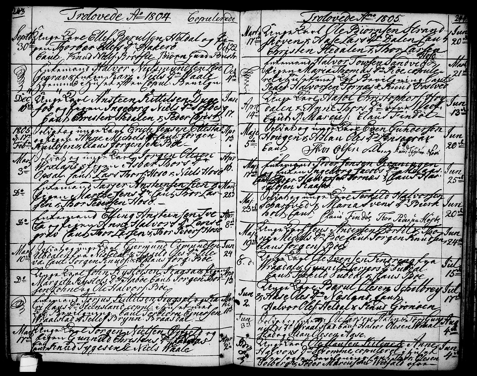 SAKO, Drangedal kirkebøker, F/Fa/L0003: Ministerialbok nr. 3, 1768-1814, s. 243-244