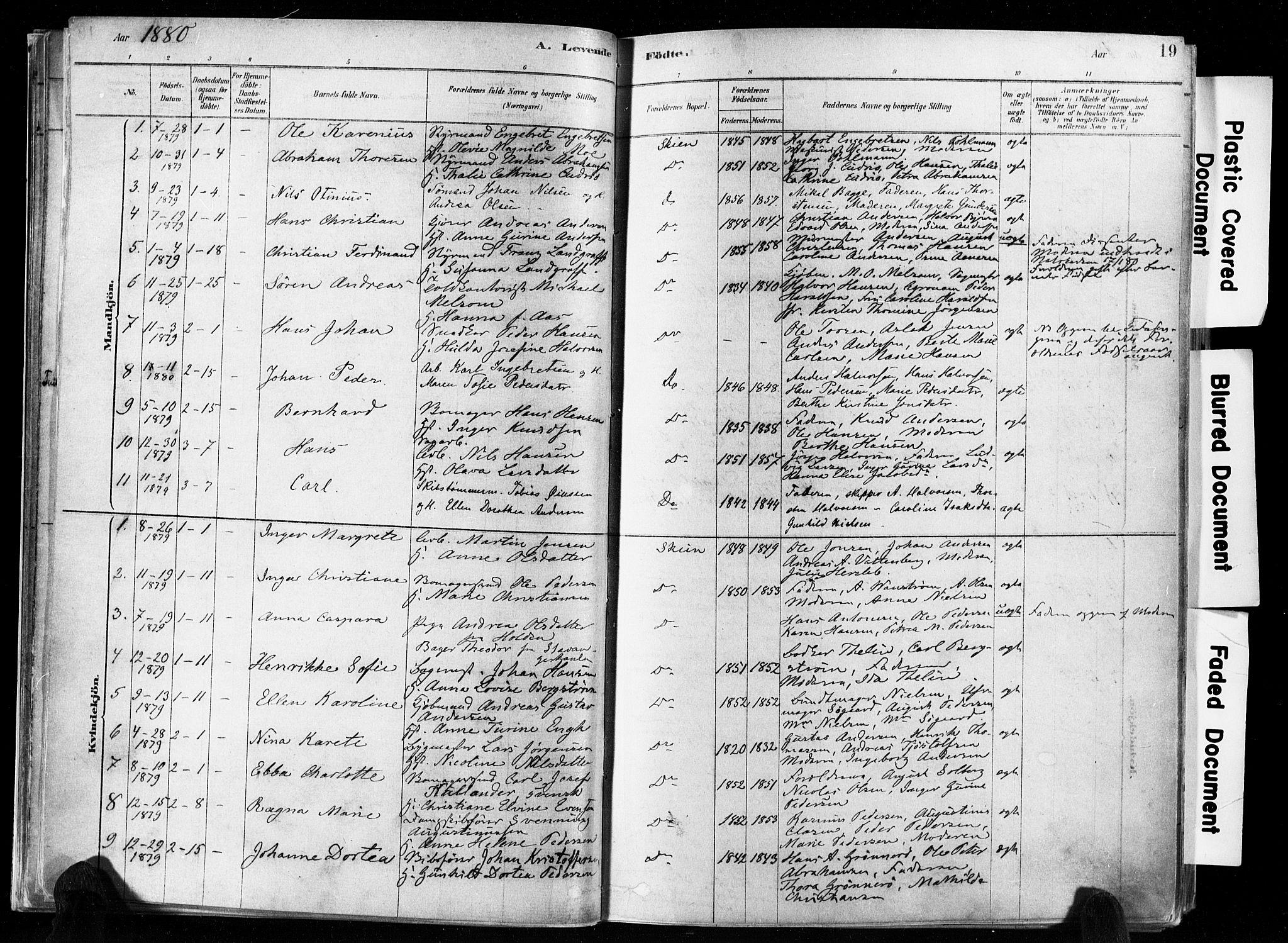 SAKO, Skien kirkebøker, F/Fa/L0009: Ministerialbok nr. 9, 1878-1890, s. 19