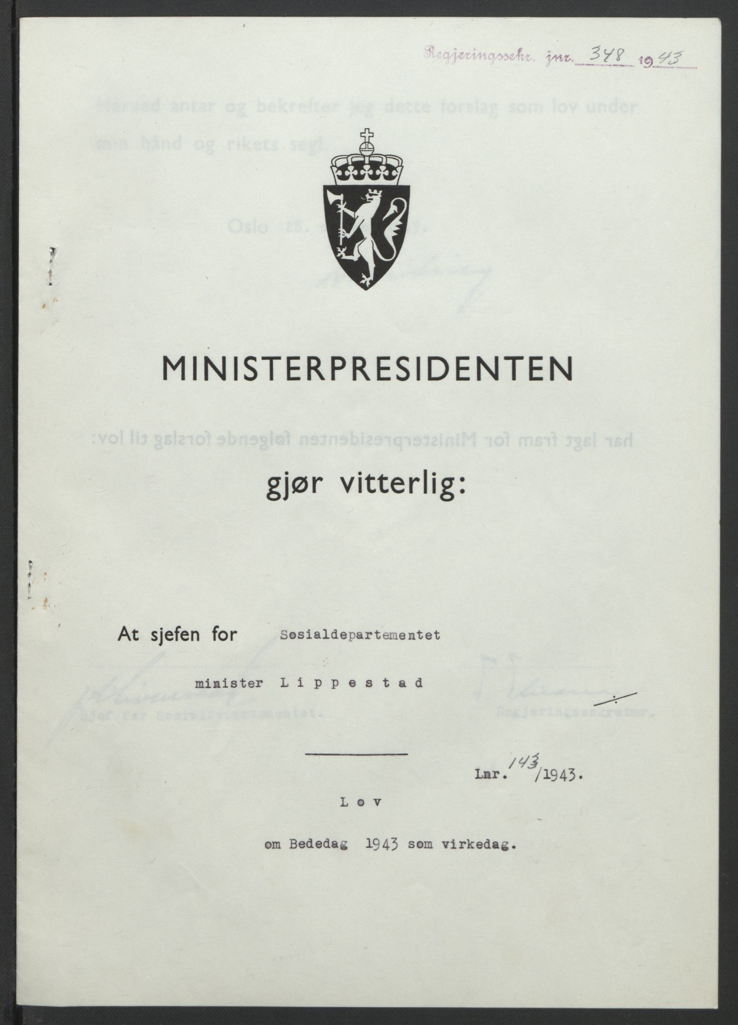 RA, NS-administrasjonen 1940-1945 (Statsrådsekretariatet, de kommisariske statsråder mm), D/Db/L0099: Lover, 1943, s. 665