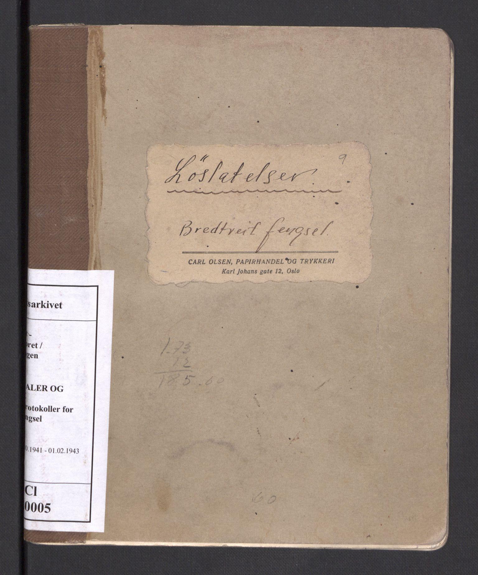 RA, Statspolitiet - Hovedkontoret / Osloavdelingen, C/Cl/L0005: Løslatelser, 1941-1943
