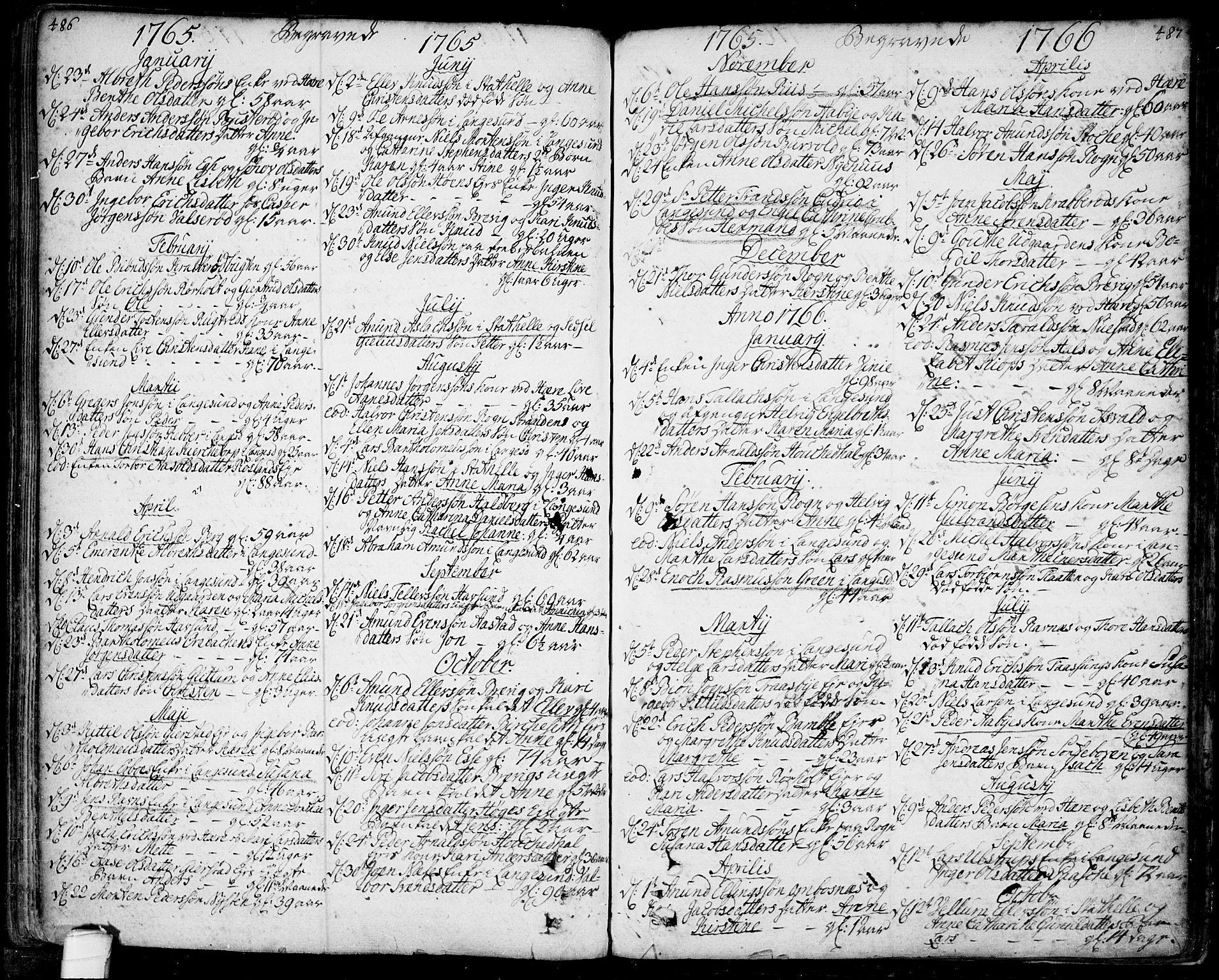 SAKO, Bamble kirkebøker, F/Fa/L0001: Ministerialbok nr. I 1, 1702-1774, s. 486-487