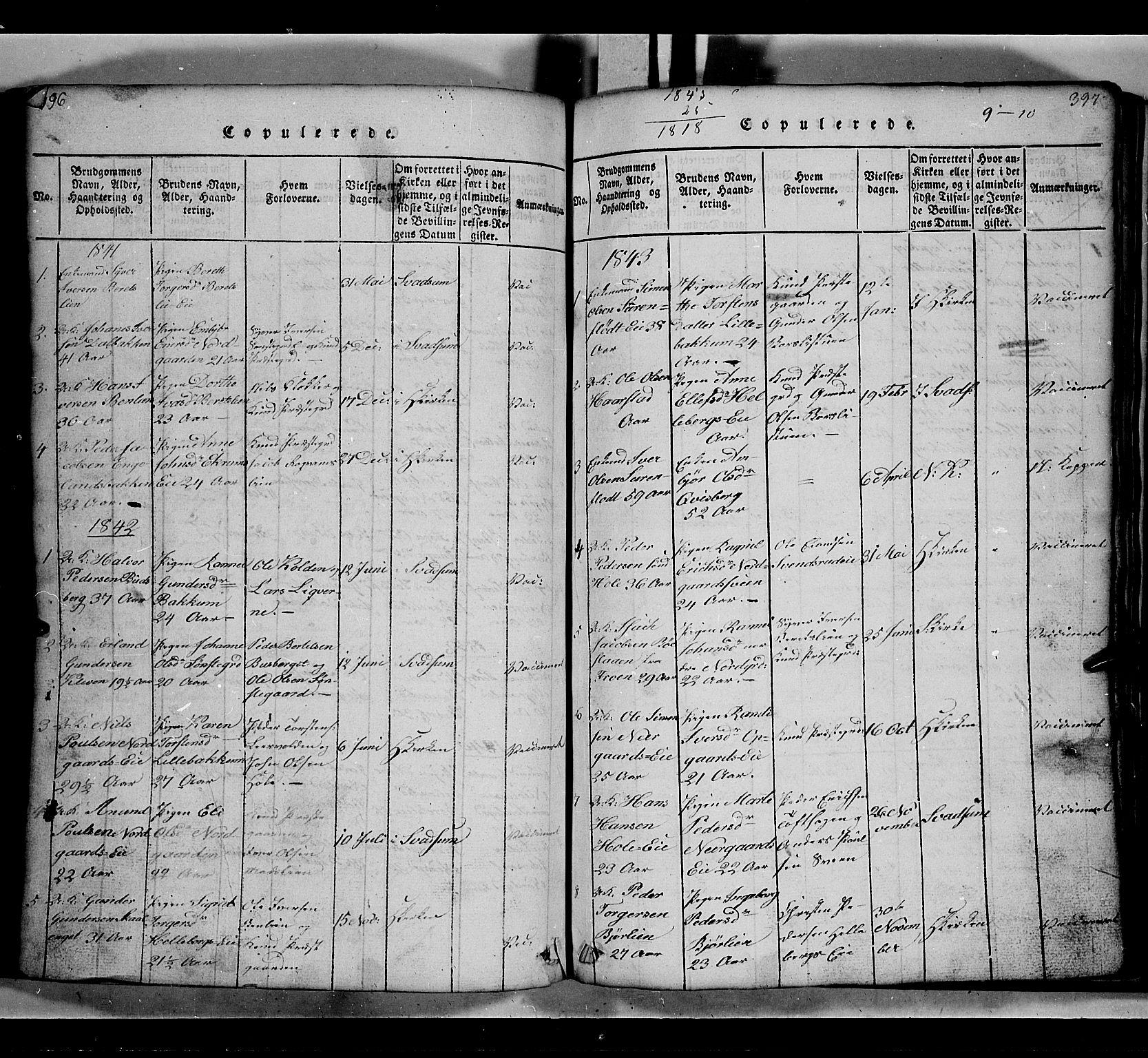 SAH, Gausdal prestekontor, Klokkerbok nr. 2, 1818-1874, s. 396-397