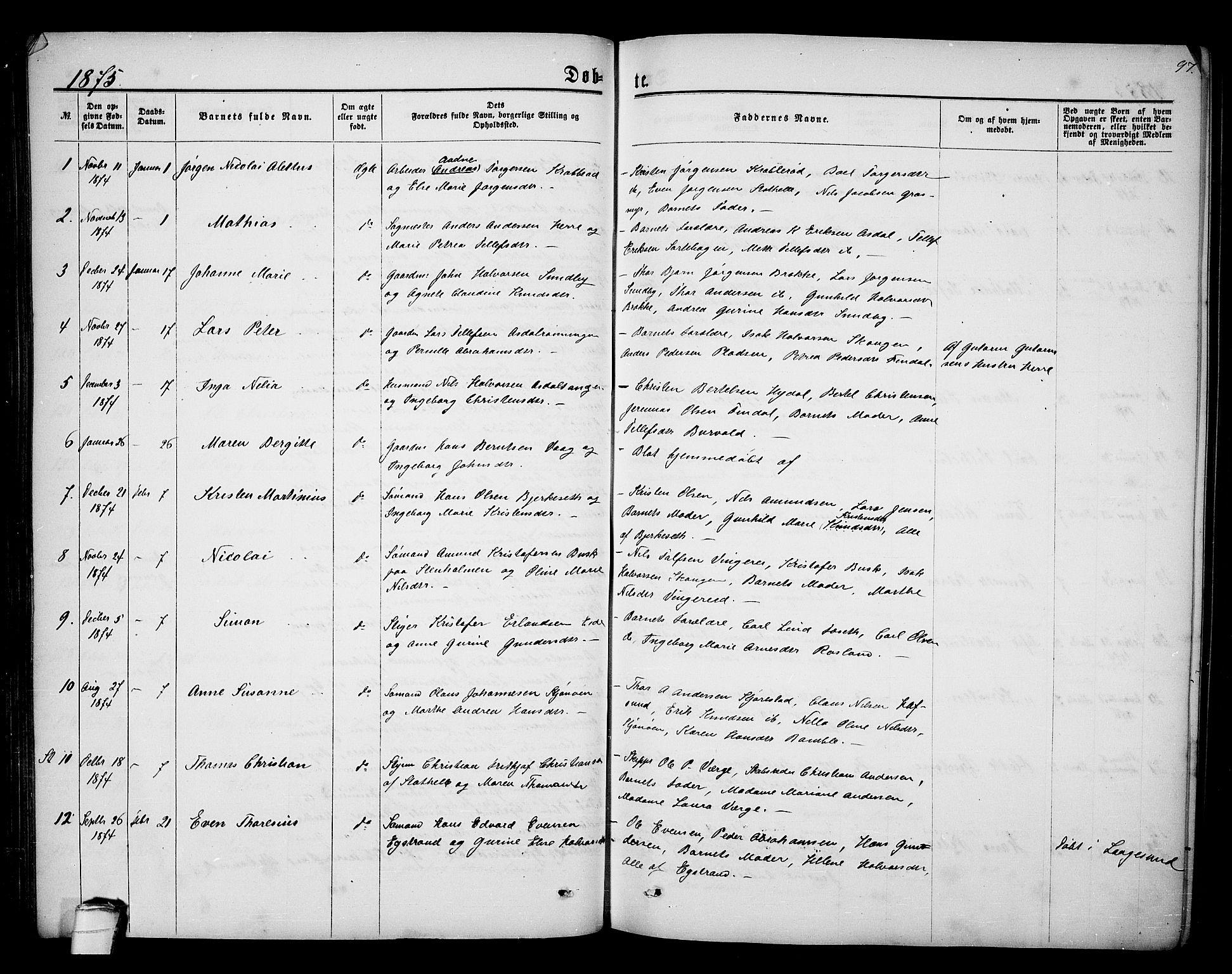 SAKO, Bamble kirkebøker, G/Ga/L0006: Klokkerbok nr. I 6, 1860-1876, s. 97