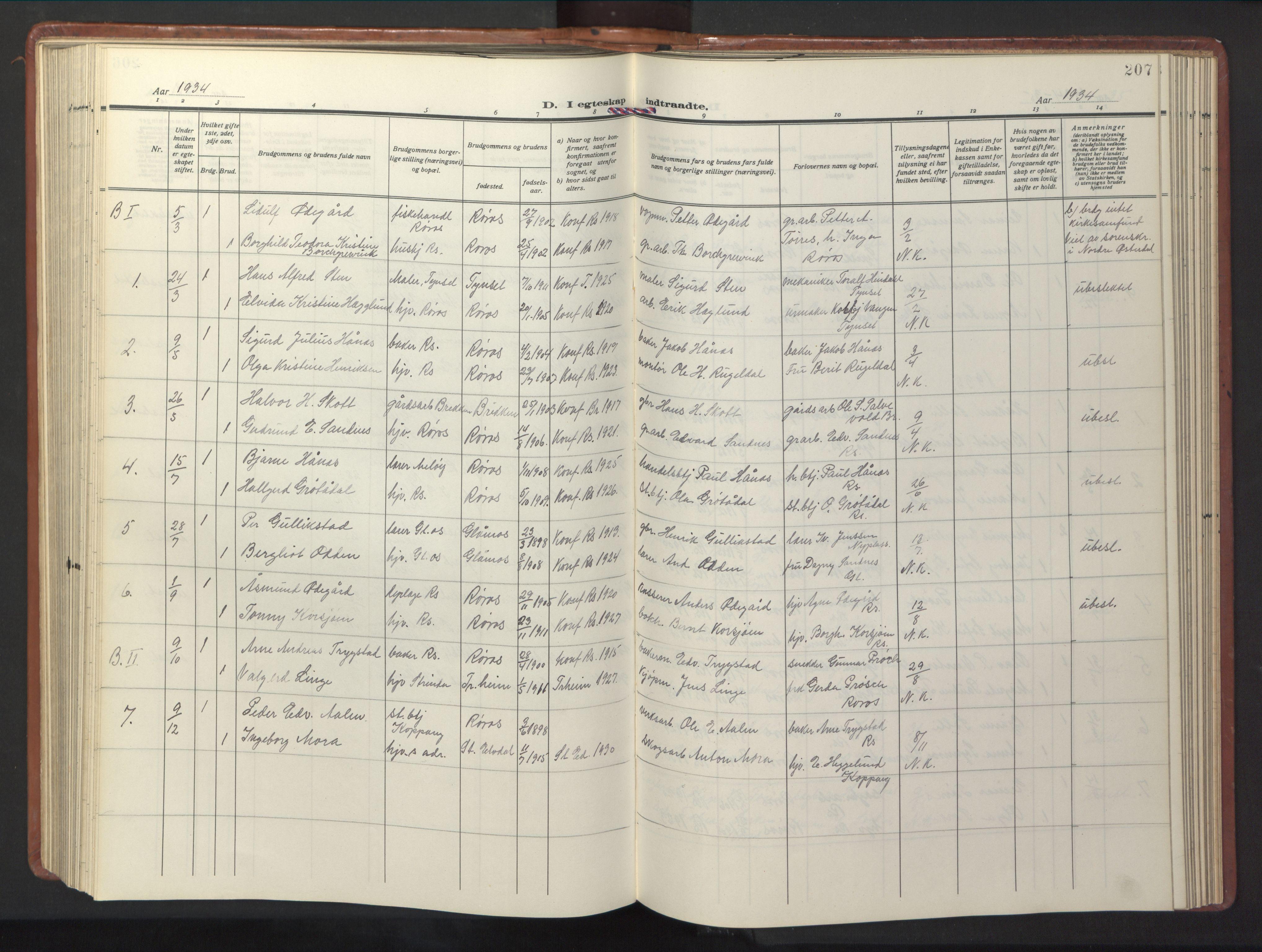 SAT, Ministerialprotokoller, klokkerbøker og fødselsregistre - Sør-Trøndelag, 681/L0943: Klokkerbok nr. 681C07, 1926-1954, s. 207