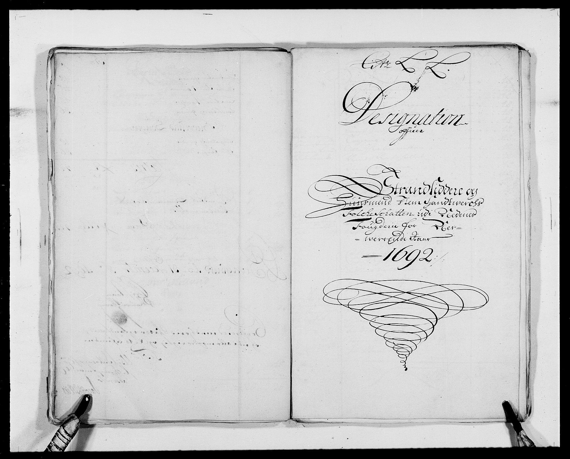 RA, Rentekammeret inntil 1814, Reviderte regnskaper, Fogderegnskap, R39/L2311: Fogderegnskap Nedenes, 1690-1692, s. 230