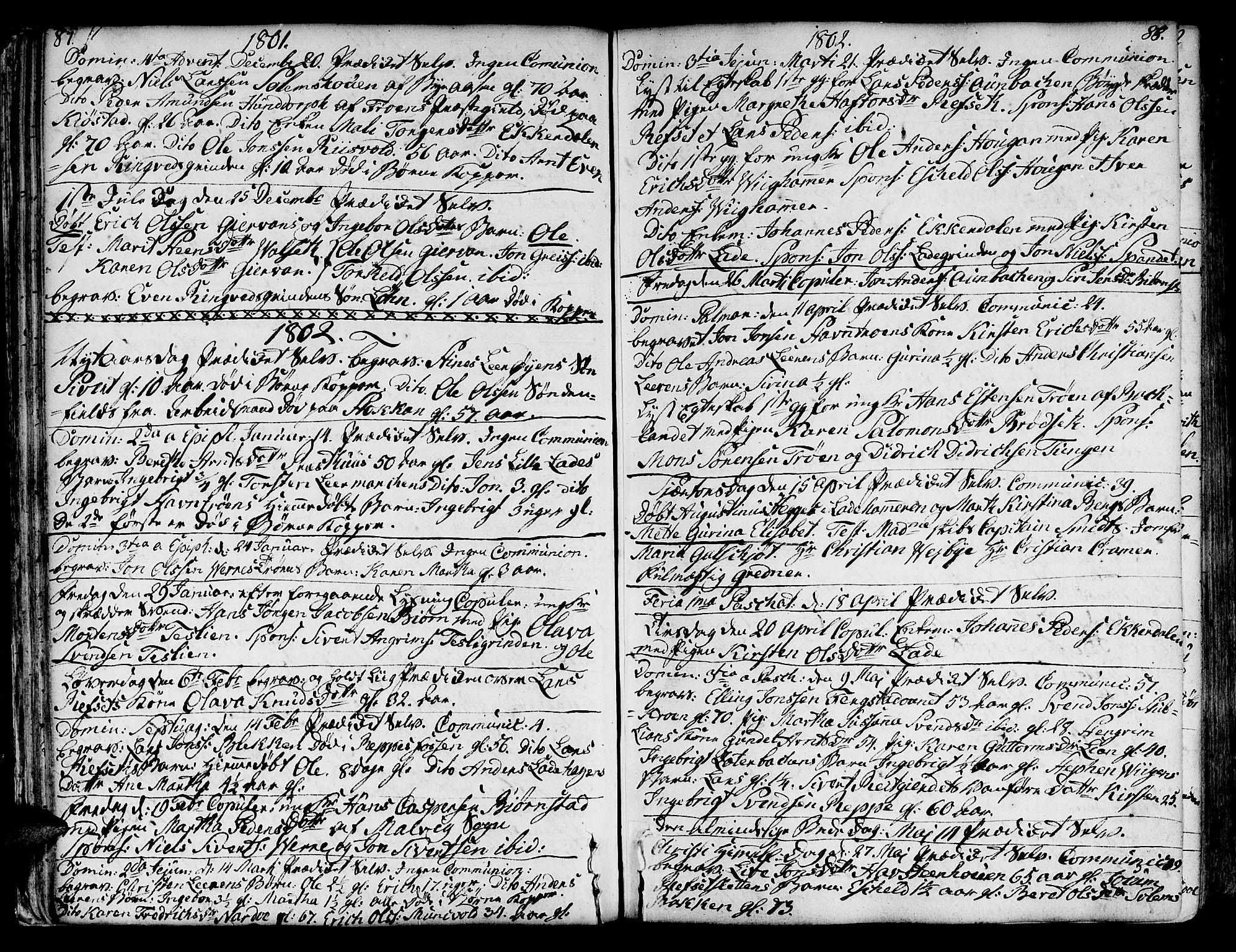 SAT, Ministerialprotokoller, klokkerbøker og fødselsregistre - Sør-Trøndelag, 606/L0280: Ministerialbok nr. 606A02 /1, 1781-1817, s. 87-88