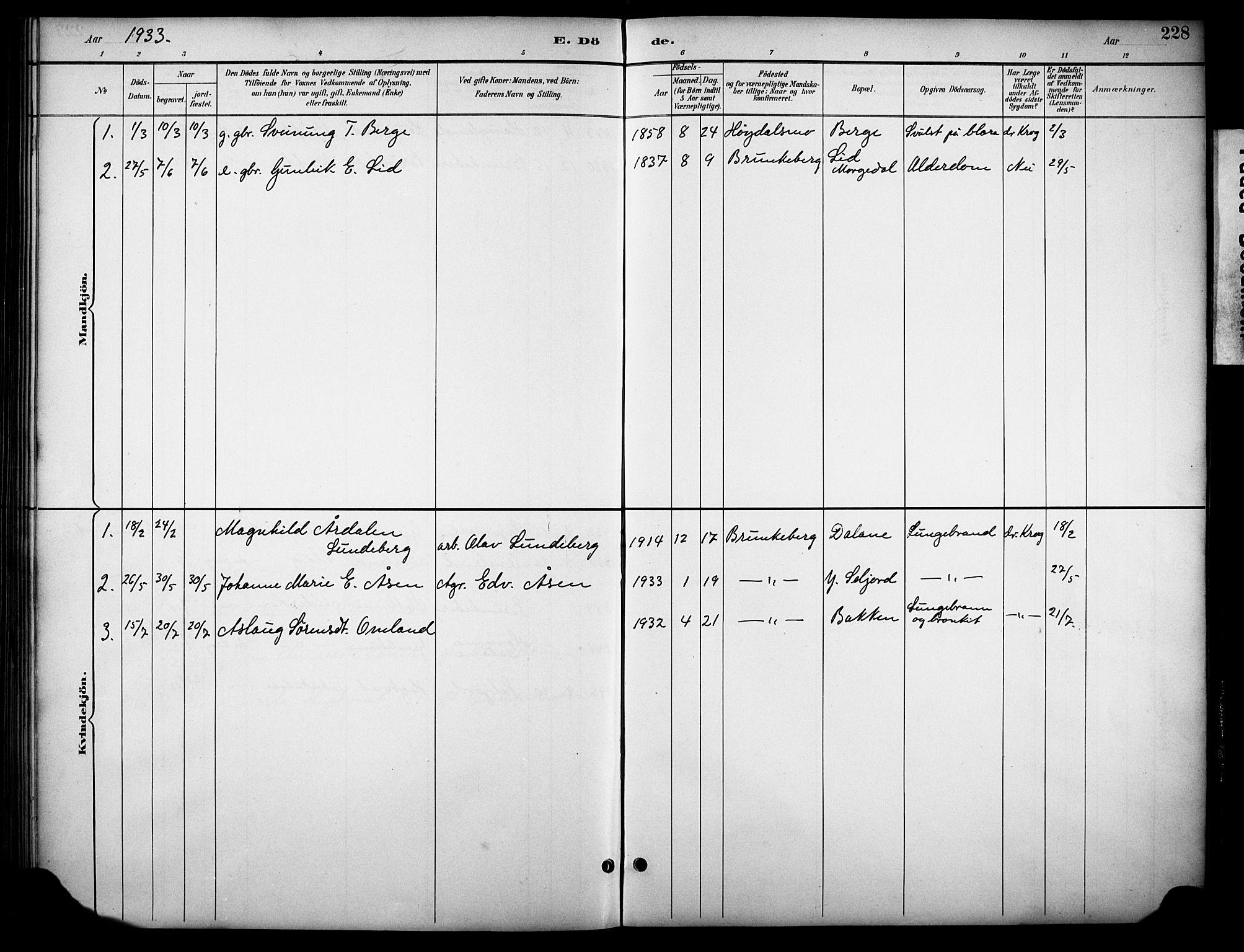 SAKO, Kviteseid kirkebøker, G/Gb/L0003: Klokkerbok nr. II 3, 1893-1933, s. 228