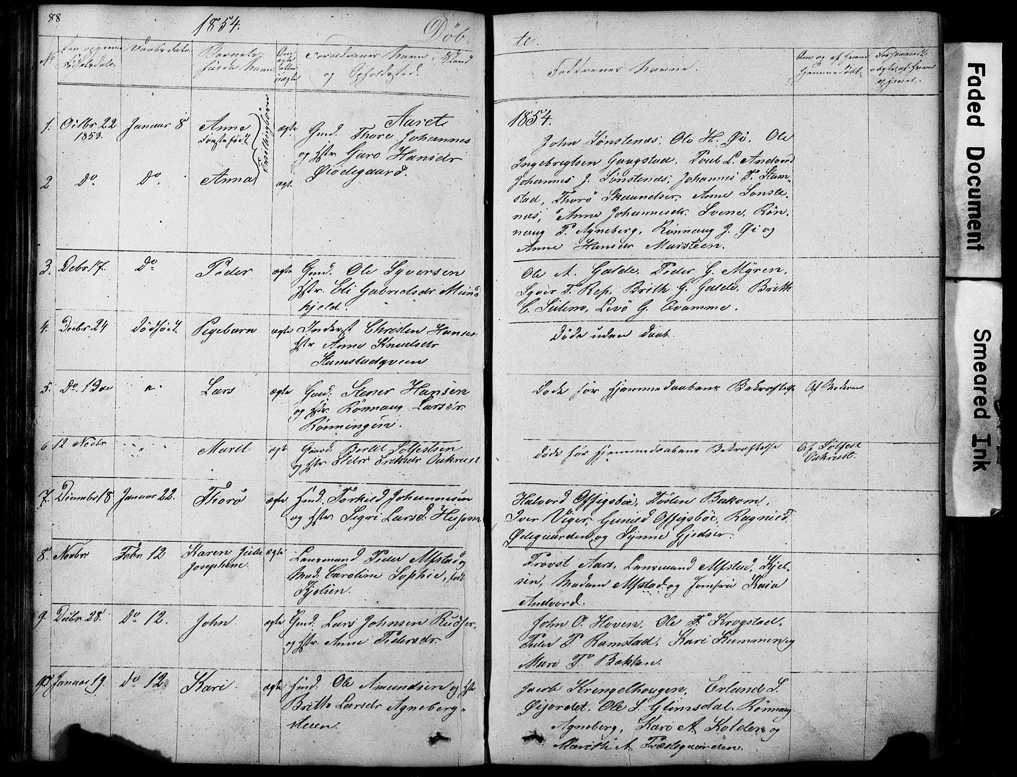 SAH, Lom prestekontor, L/L0012: Klokkerbok nr. 12, 1845-1873, s. 88-89
