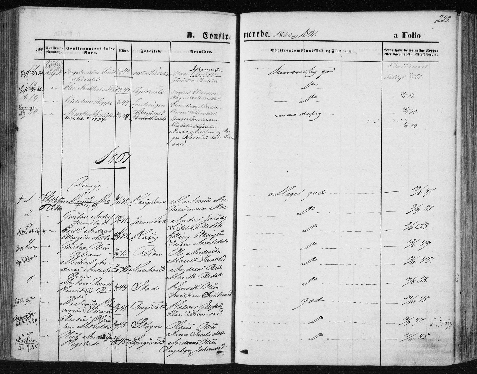 SAT, Ministerialprotokoller, klokkerbøker og fødselsregistre - Nord-Trøndelag, 723/L0241: Ministerialbok nr. 723A10, 1860-1869, s. 228