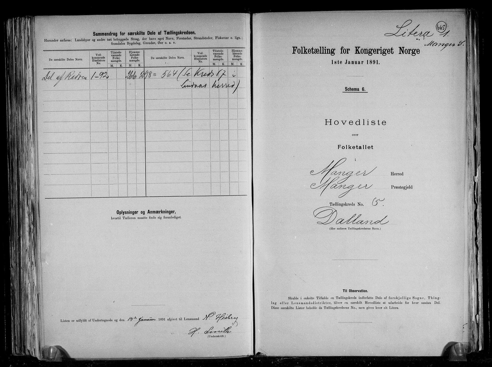 RA, Folketelling 1891 for 1261 Manger herred, 1891, s. 16