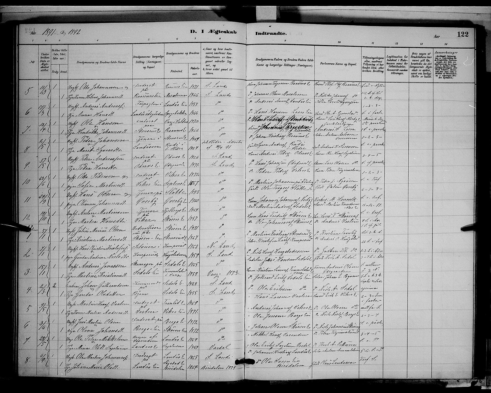 SAH, Søndre Land prestekontor, L/L0003: Klokkerbok nr. 3, 1884-1902, s. 122