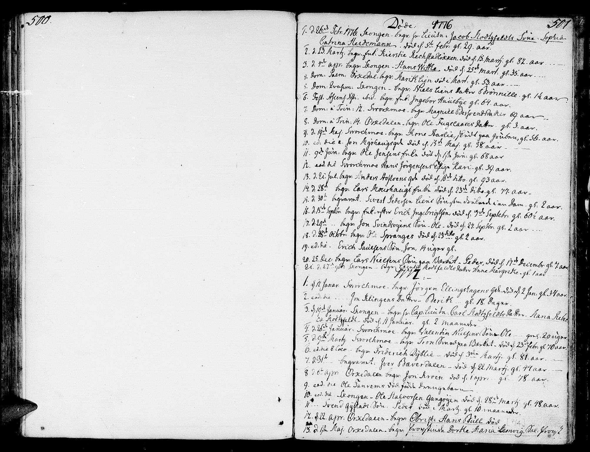 SAT, Ministerialprotokoller, klokkerbøker og fødselsregistre - Sør-Trøndelag, 668/L0802: Ministerialbok nr. 668A02, 1776-1799, s. 500-501