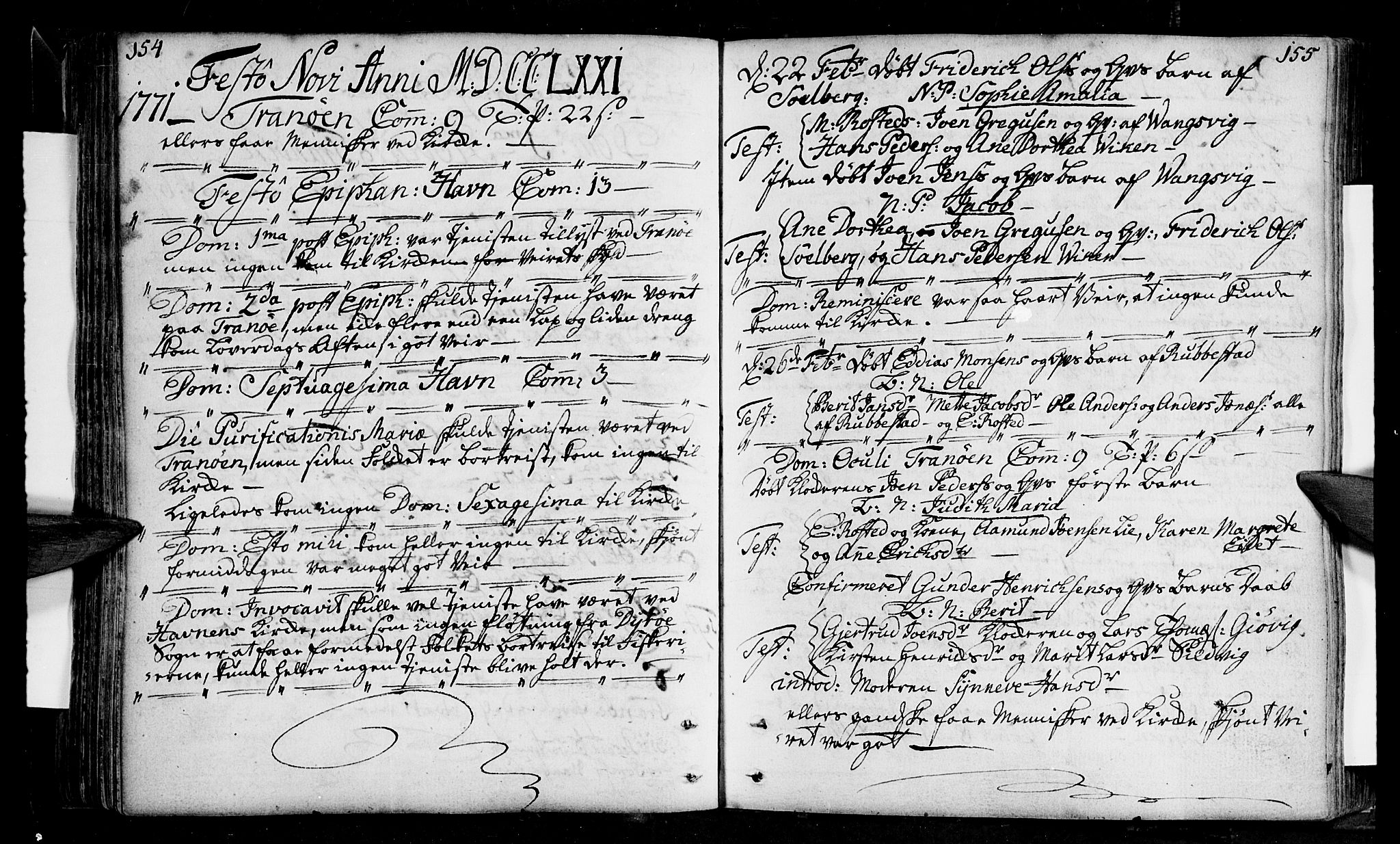 SATØ, Tranøy sokneprestkontor, I/Ia/Iaa/L0001kirke: Ministerialbok nr. 1, 1757-1773, s. 154-155