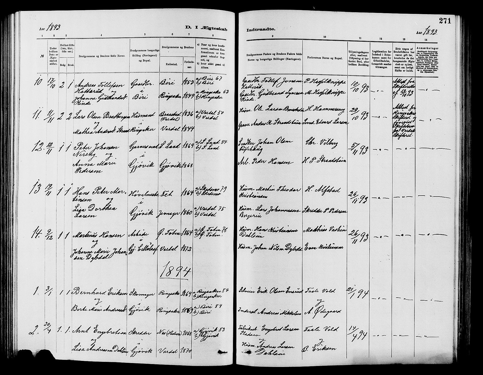 SAH, Vardal prestekontor, H/Ha/Hab/L0007: Klokkerbok nr. 7 /2, 1881-1895, s. 271