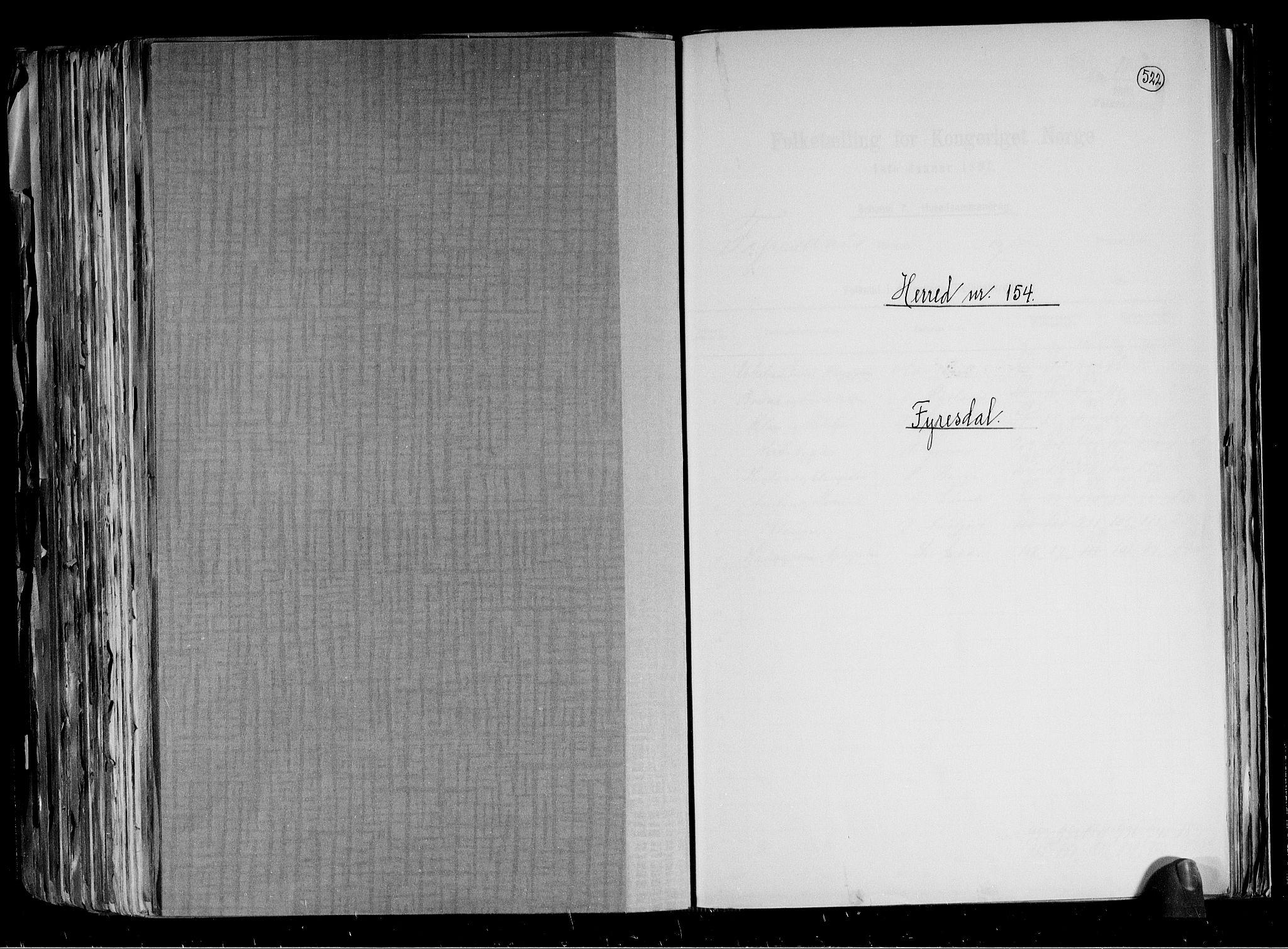 RA, Folketelling 1891 for 0831 Fyresdal herred, 1891, s. 1