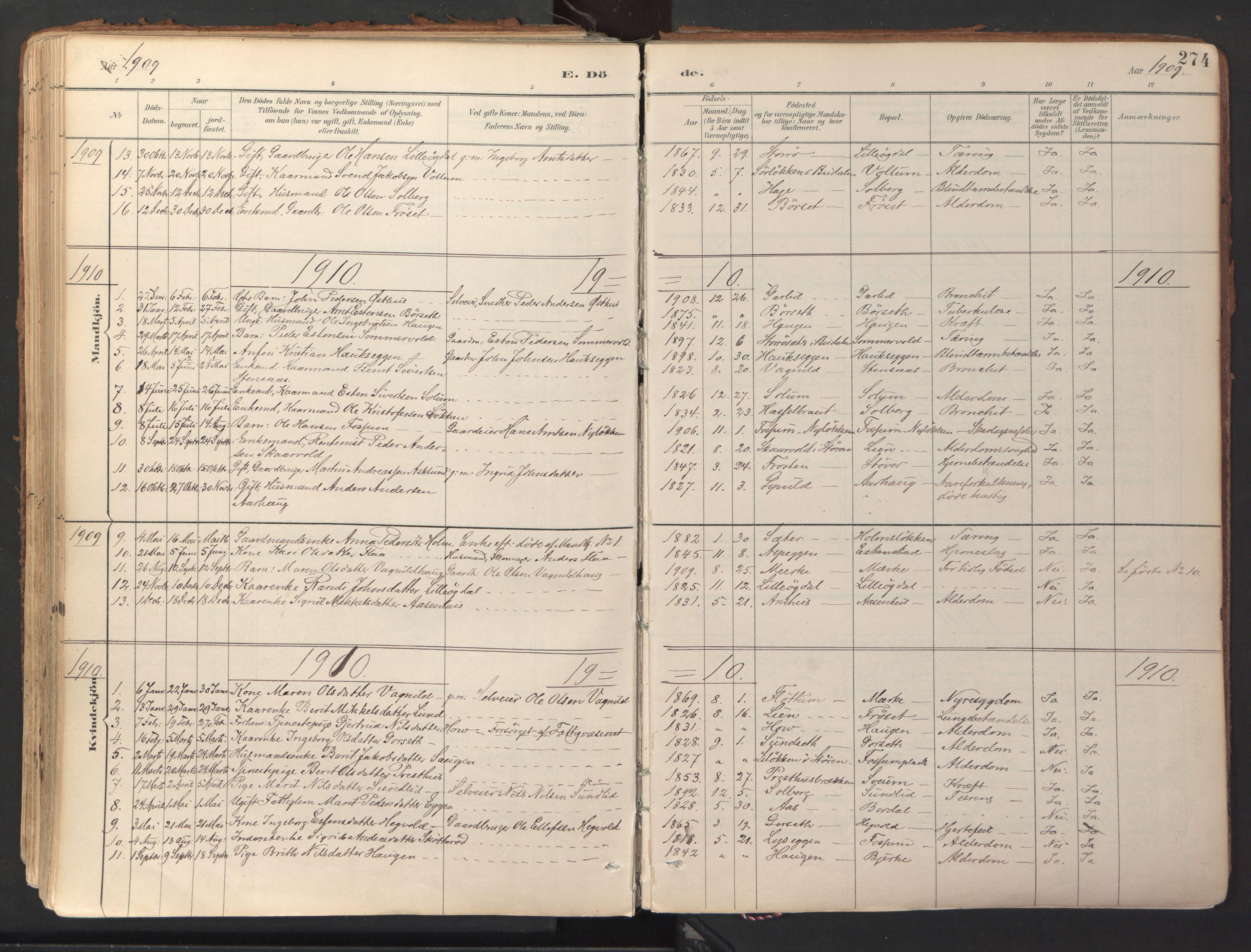 SAT, Ministerialprotokoller, klokkerbøker og fødselsregistre - Sør-Trøndelag, 689/L1041: Ministerialbok nr. 689A06, 1891-1923, s. 274