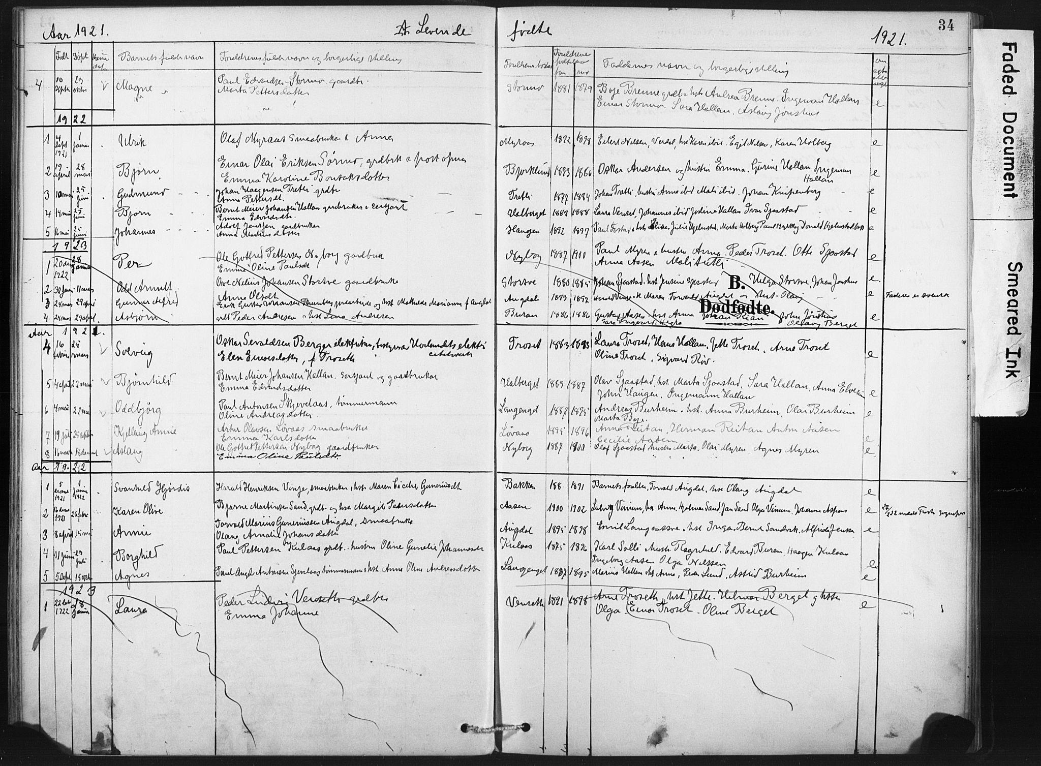 SAT, Ministerialprotokoller, klokkerbøker og fødselsregistre - Nord-Trøndelag, 718/L0175: Ministerialbok nr. 718A01, 1890-1923, s. 34