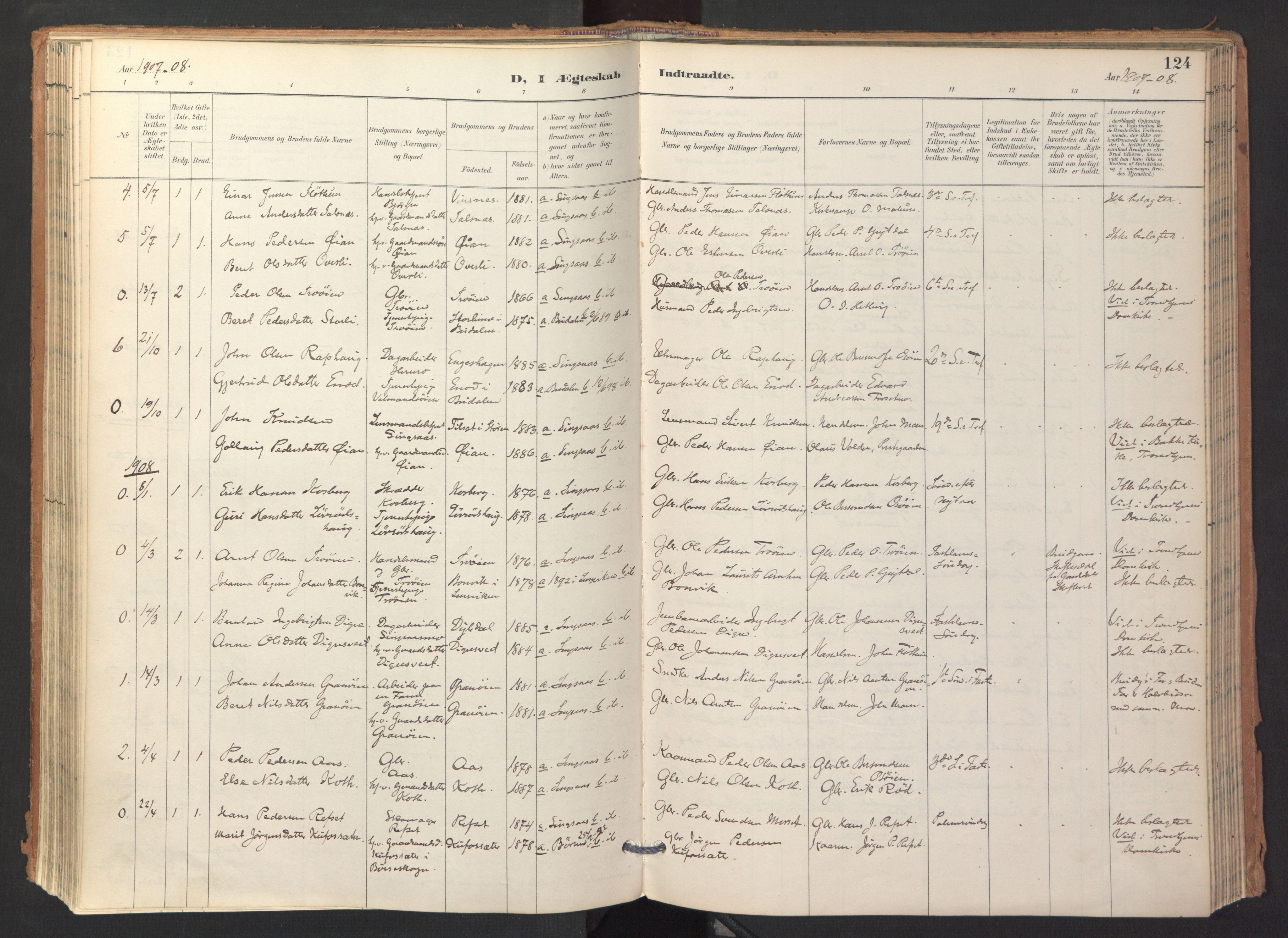 SAT, Ministerialprotokoller, klokkerbøker og fødselsregistre - Sør-Trøndelag, 688/L1025: Ministerialbok nr. 688A02, 1891-1909, s. 124