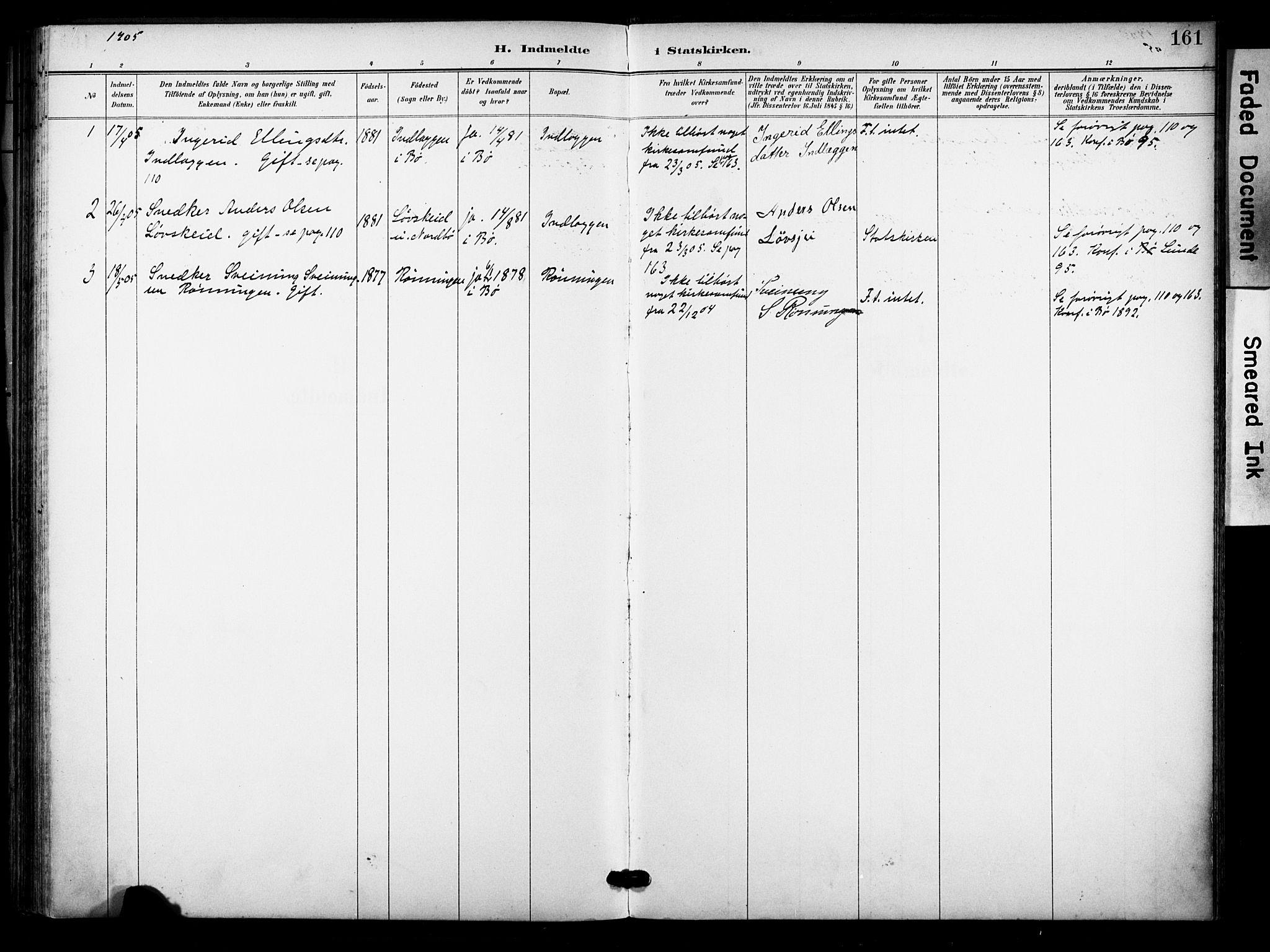 SAKO, Bø kirkebøker, F/Fa/L0012: Ministerialbok nr. 12, 1900-1908, s. 161