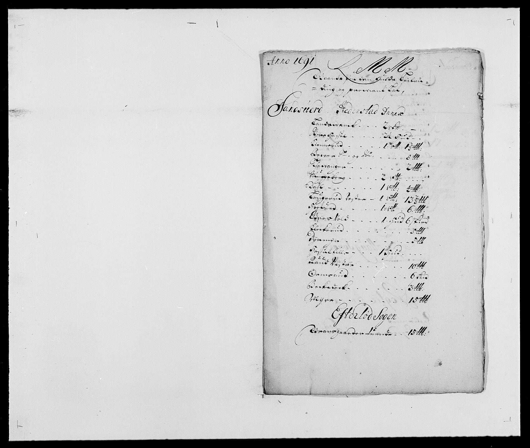 RA, Rentekammeret inntil 1814, Reviderte regnskaper, Fogderegnskap, R24/L1573: Fogderegnskap Numedal og Sandsvær, 1687-1691, s. 482