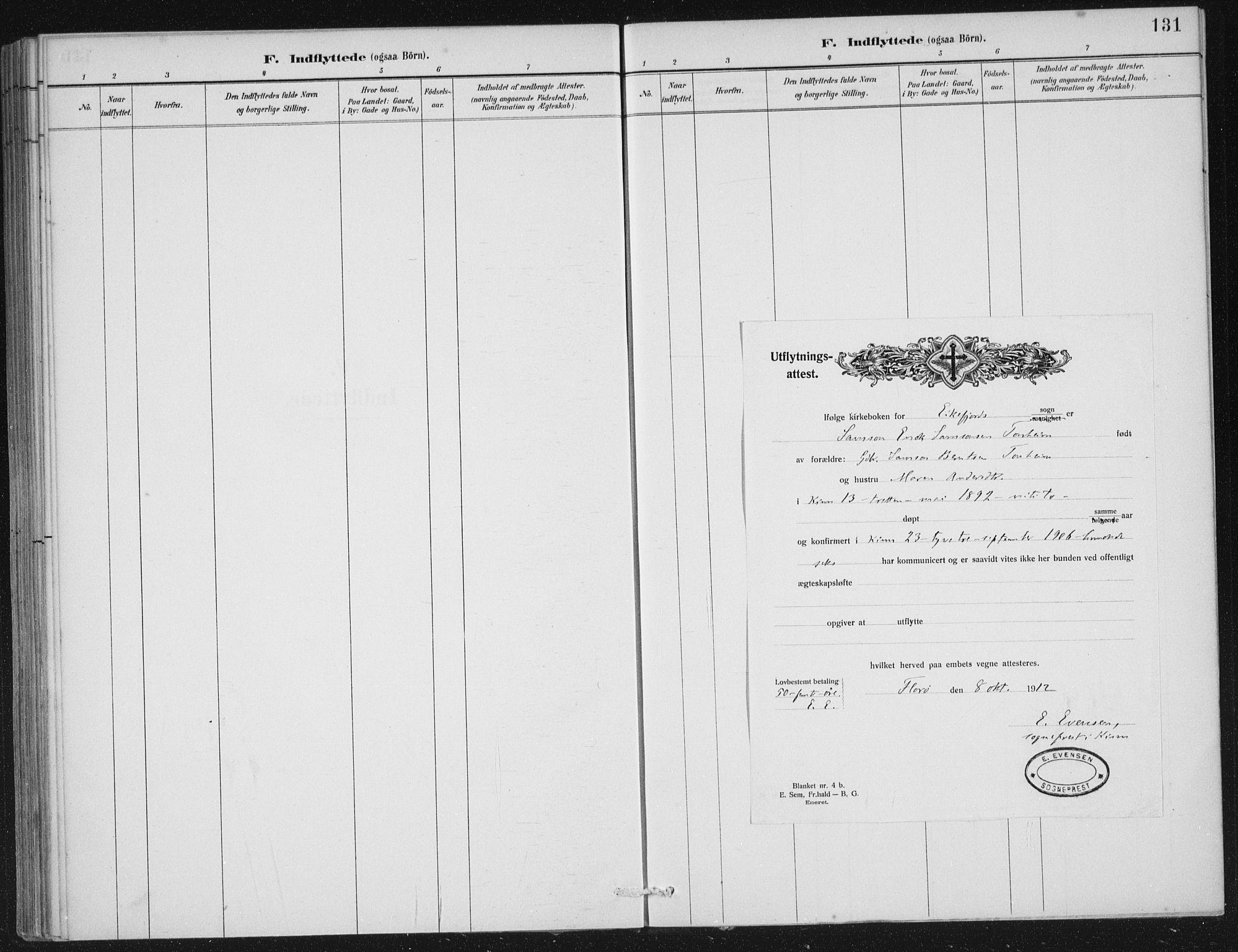 SAB, Kinn sokneprestembete, H/Haa/Haae/L0001: Ministerialbok nr. E 1, 1890-1916, s. 131