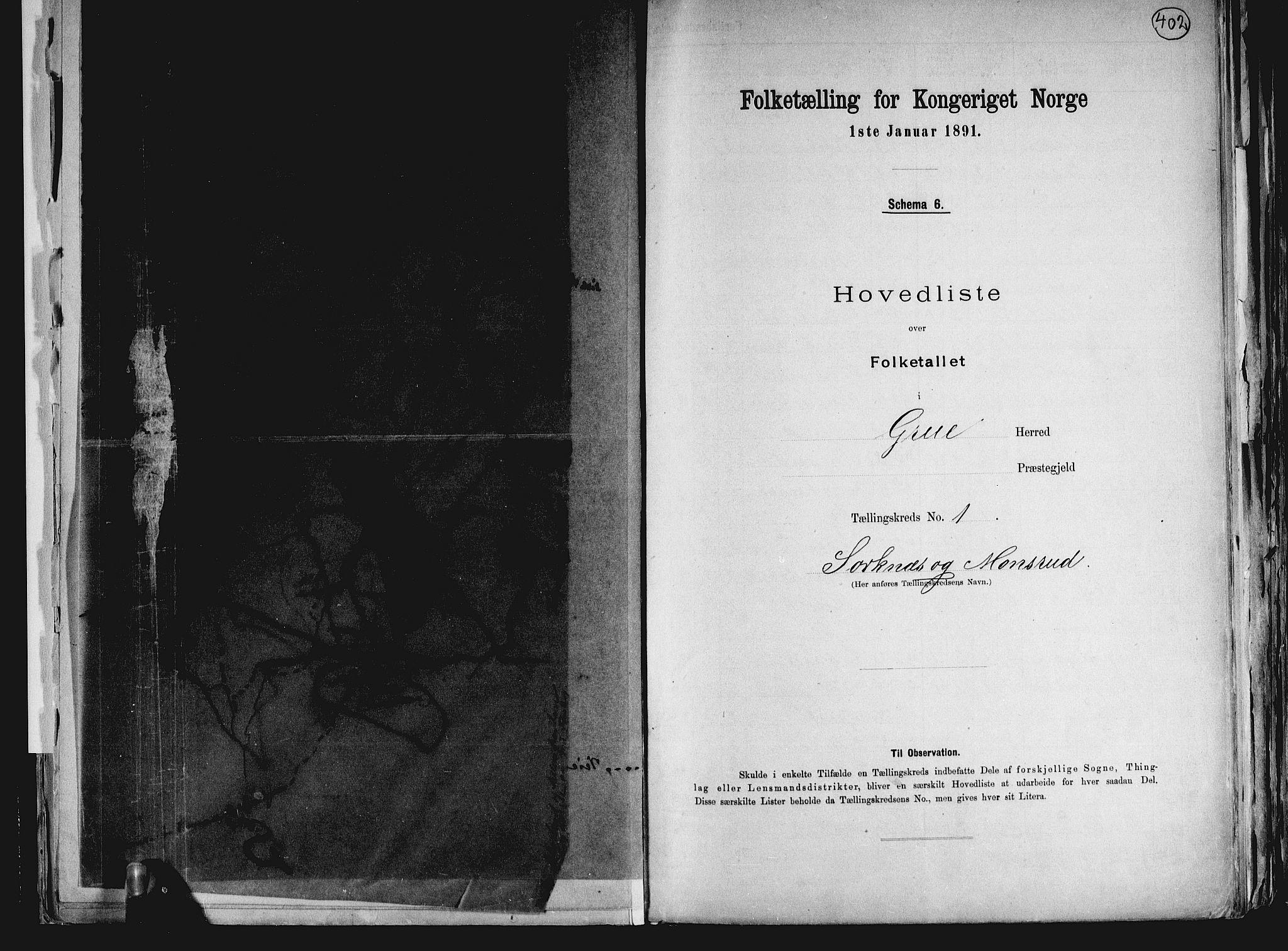 RA, Folketelling 1891 for 0423 Grue herred, 1891, s. 6