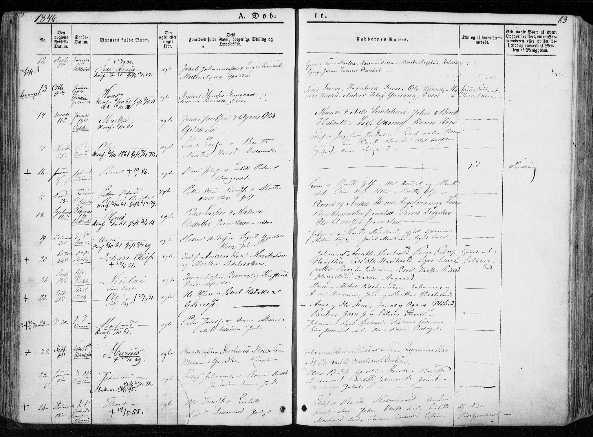 SAT, Ministerialprotokoller, klokkerbøker og fødselsregistre - Nord-Trøndelag, 723/L0239: Ministerialbok nr. 723A08, 1841-1851, s. 63