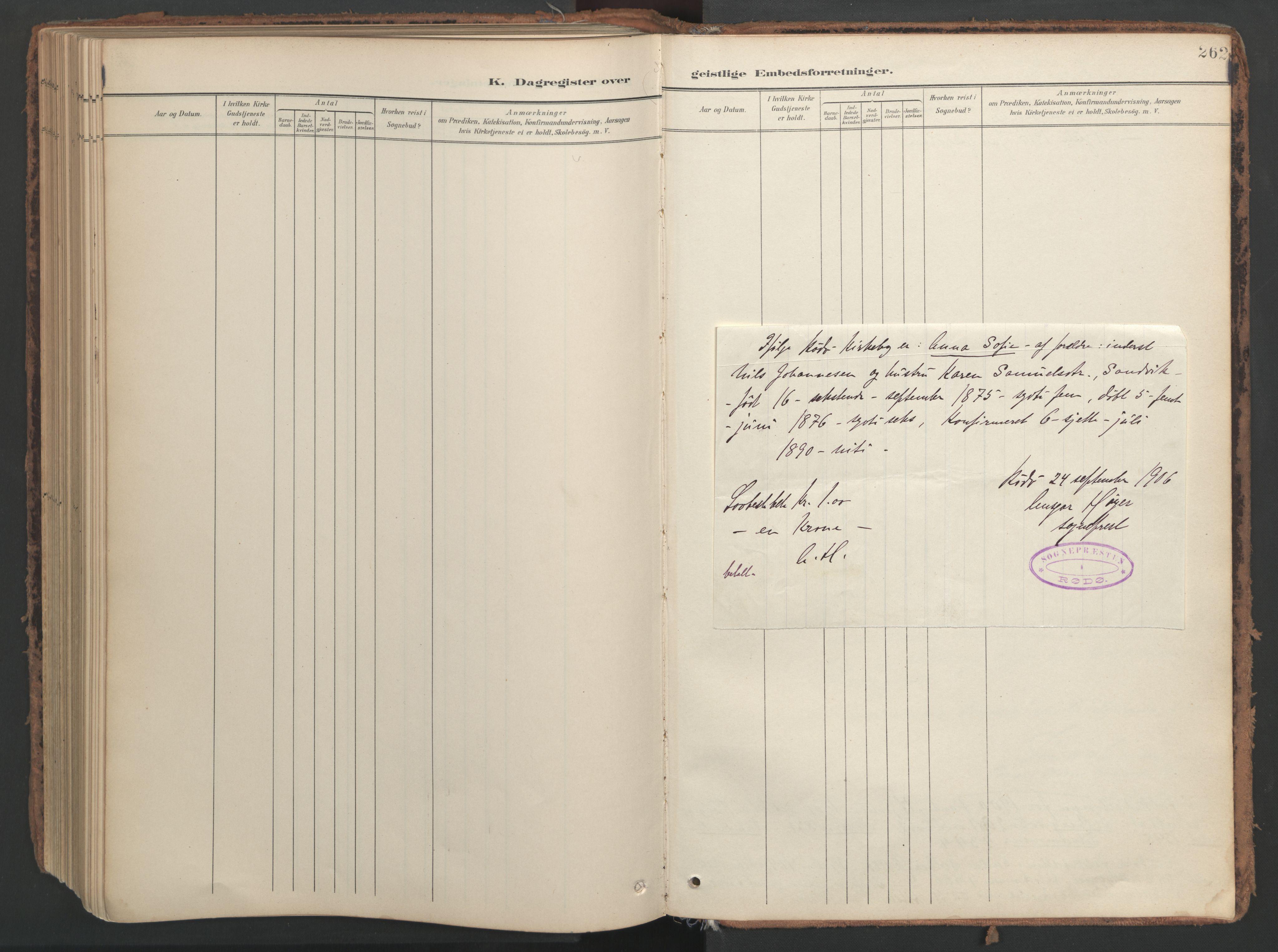 SAT, Ministerialprotokoller, klokkerbøker og fødselsregistre - Nord-Trøndelag, 741/L0397: Ministerialbok nr. 741A11, 1901-1911, s. 262