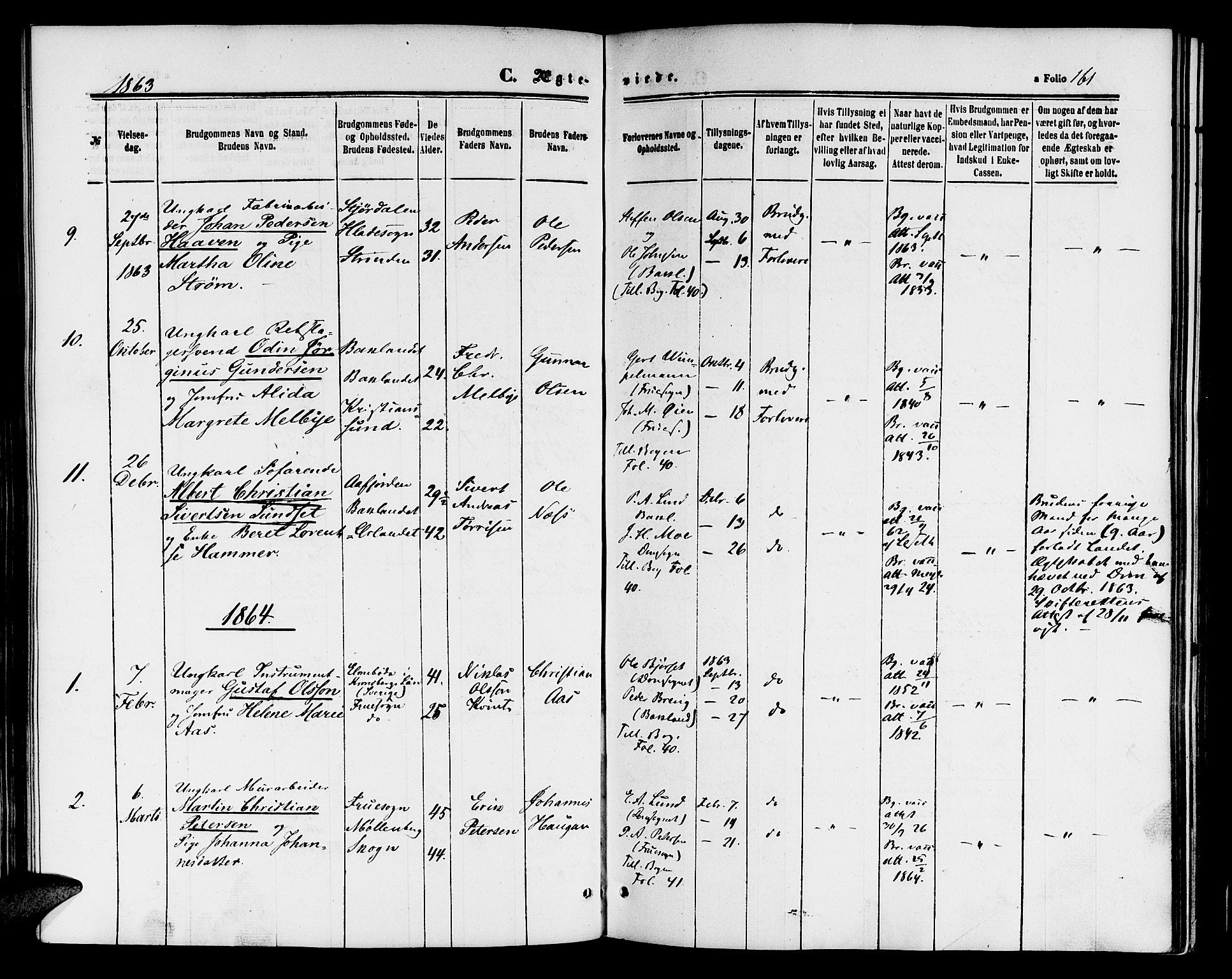 SAT, Ministerialprotokoller, klokkerbøker og fødselsregistre - Sør-Trøndelag, 604/L0185: Ministerialbok nr. 604A06, 1861-1865, s. 161