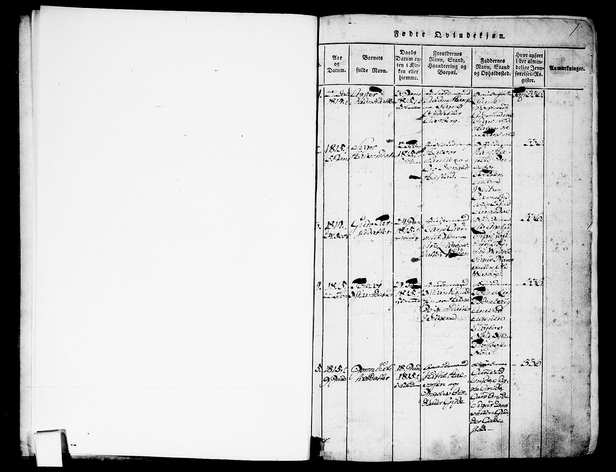 SAKO, Fyresdal kirkebøker, F/Fa/L0003: Ministerialbok nr. I 3, 1815-1840, s. 1