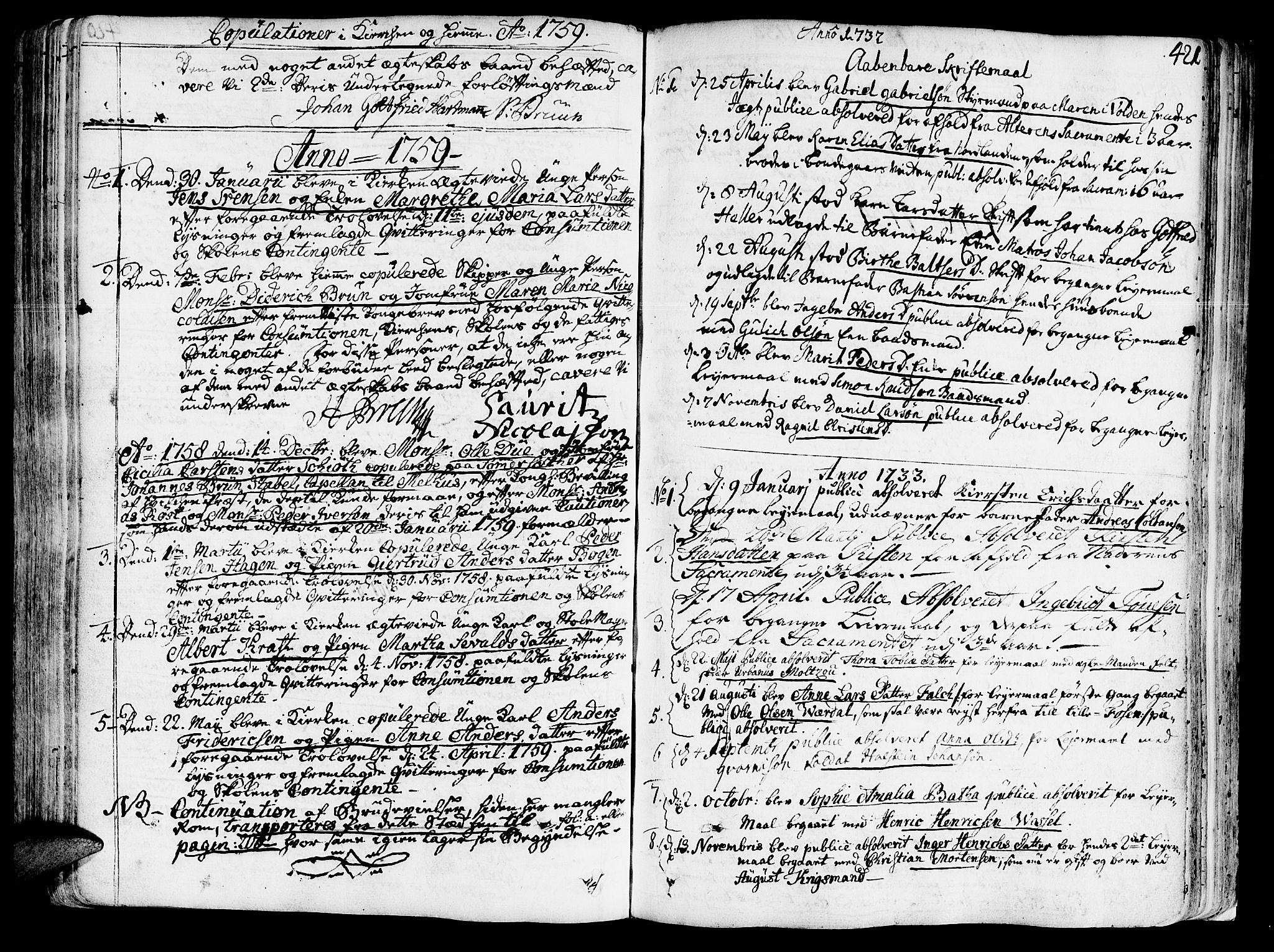 SAT, Ministerialprotokoller, klokkerbøker og fødselsregistre - Sør-Trøndelag, 602/L0103: Ministerialbok nr. 602A01, 1732-1774, s. 421