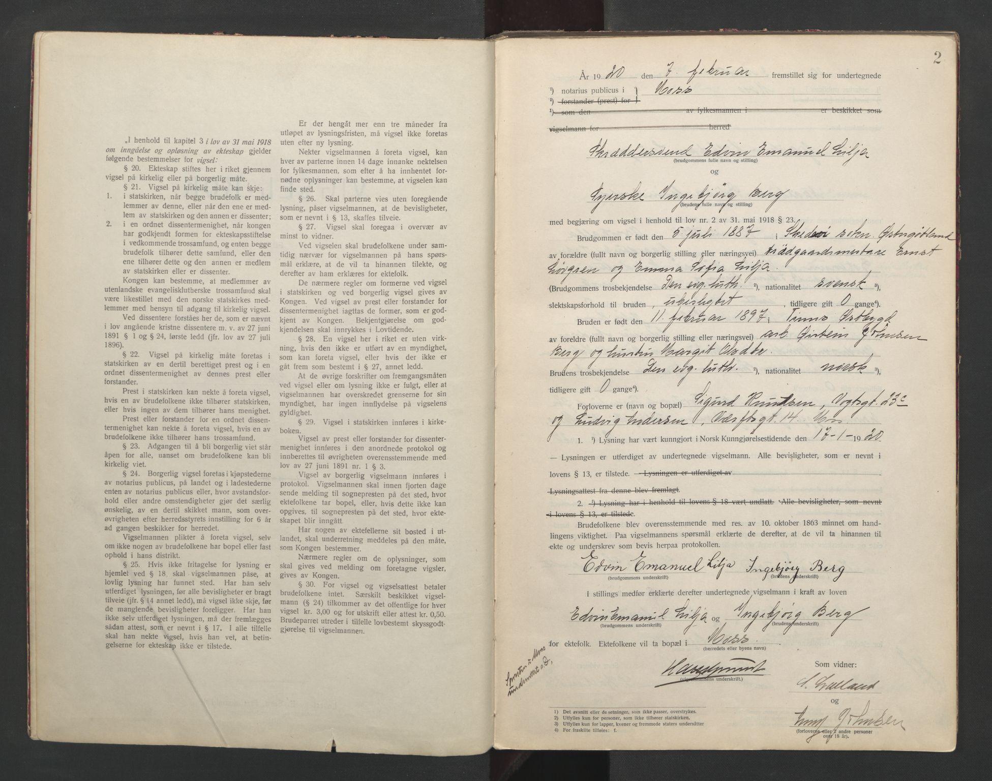SAO, Moss byfogd, L/Lb/L0003: Vigselsbok, 1920-1932, s. 2