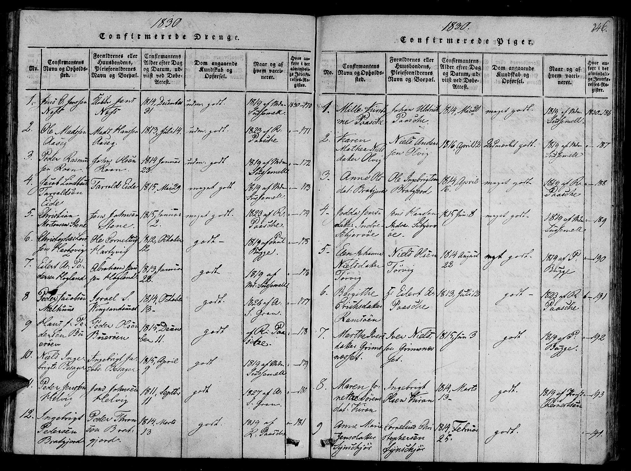 SAT, Ministerialprotokoller, klokkerbøker og fødselsregistre - Sør-Trøndelag, 657/L0702: Ministerialbok nr. 657A03, 1818-1831, s. 246