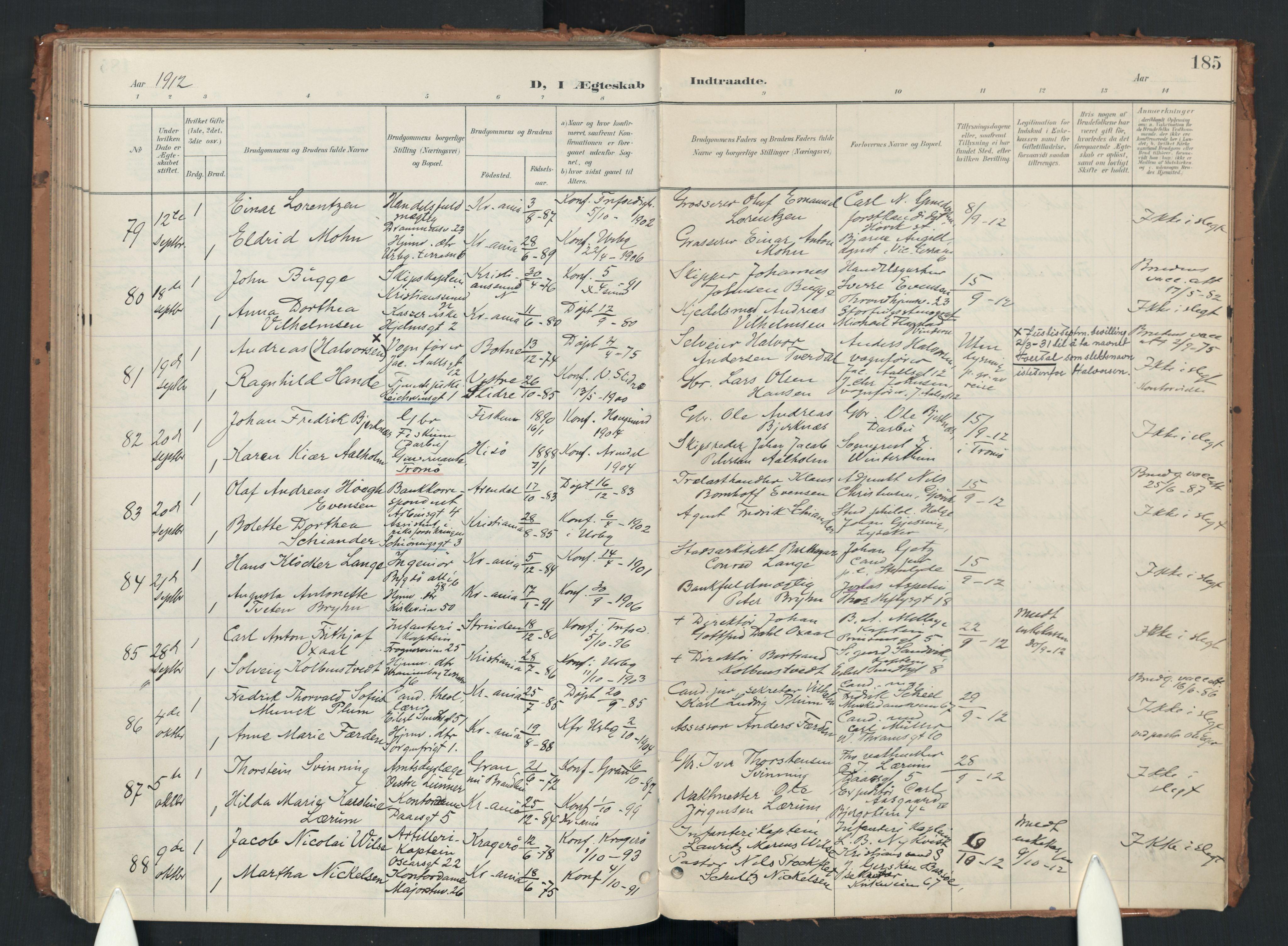 SAO, Uranienborg prestekontor Kirkebøker, F/Fa/L0007: Ministerialbok nr. 7, 1896-1914, s. 185