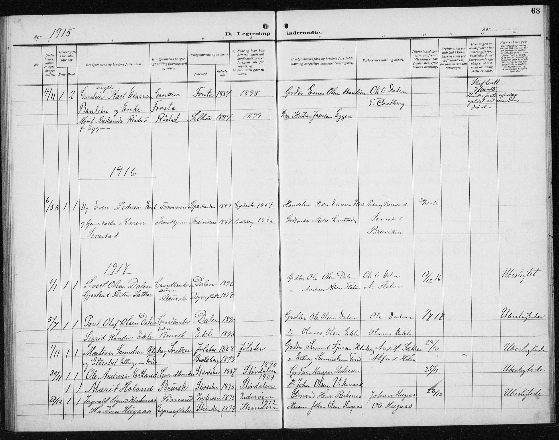 SAT, Ministerialprotokoller, klokkerbøker og fødselsregistre - Sør-Trøndelag, 608/L0342: Klokkerbok nr. 608C08, 1912-1938, s. 68