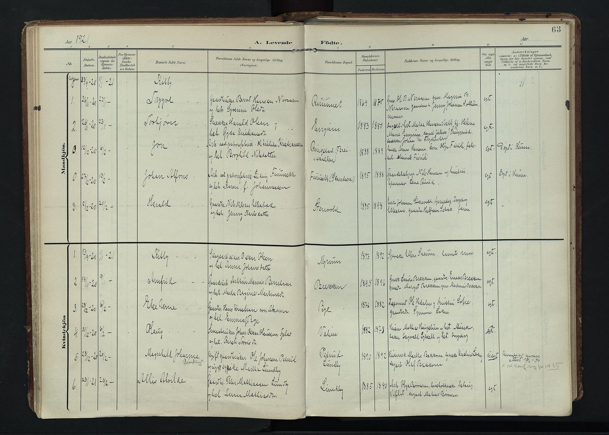 SAH, Vardal prestekontor, H/Ha/Haa/L0020: Ministerialbok nr. 20, 1907-1921, s. 63