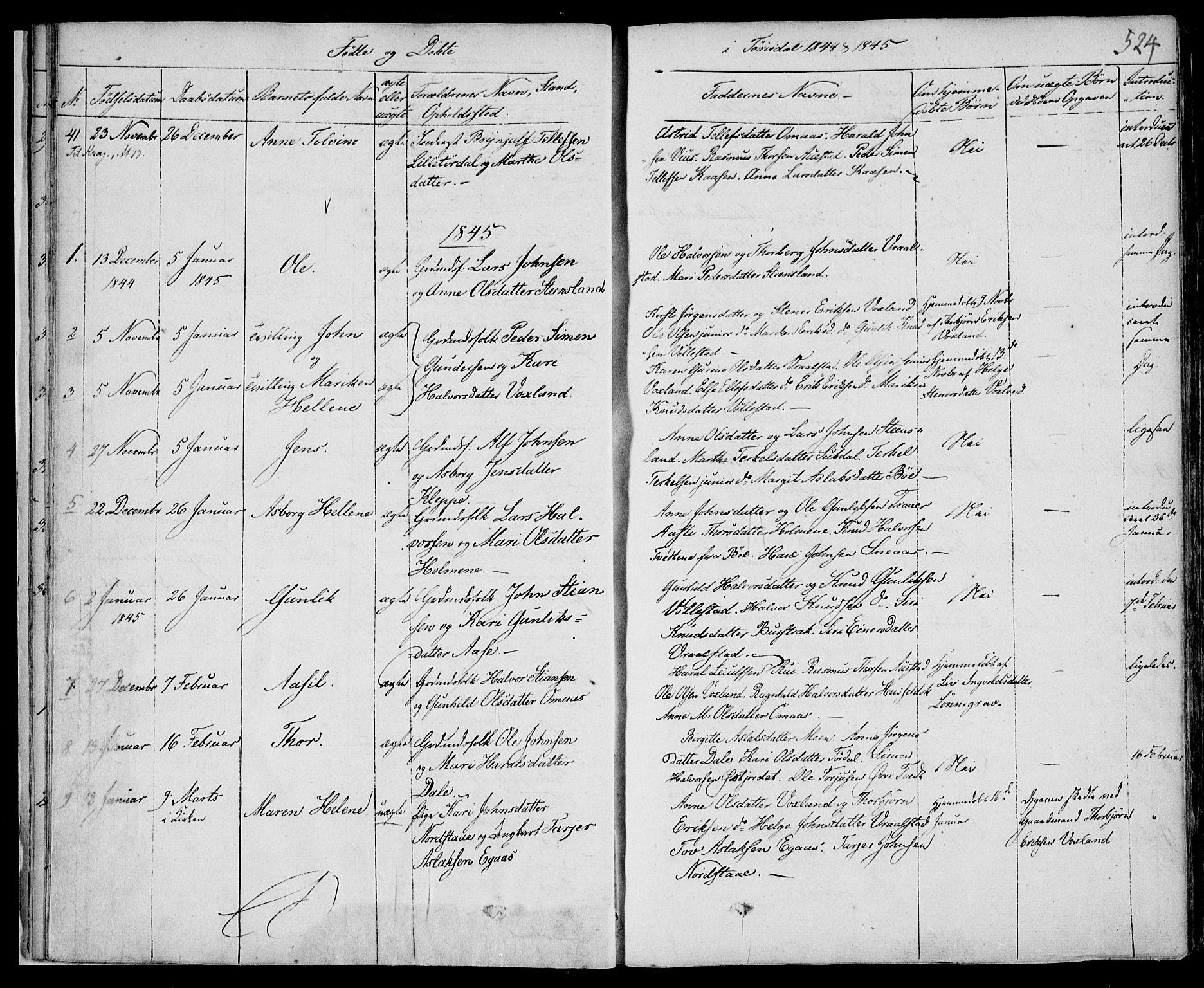 SAKO, Drangedal kirkebøker, F/Fa/L0007b: Ministerialbok nr. 7b, 1837-1856, s. 524