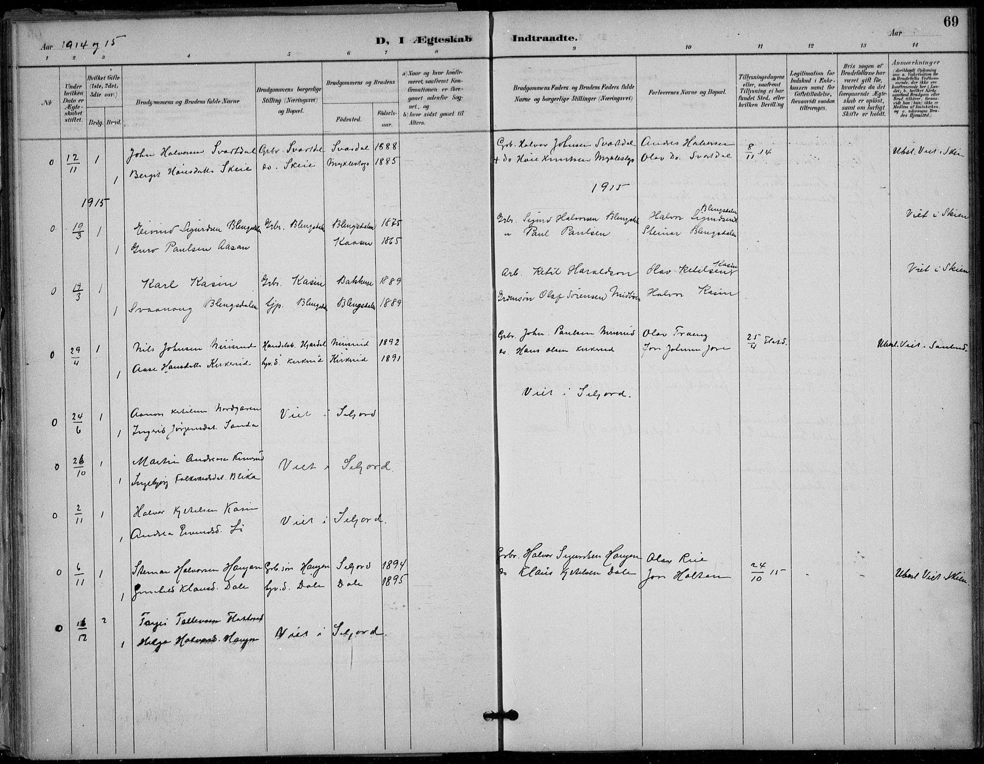 SAKO, Seljord kirkebøker, F/Fb/L0002: Ministerialbok nr. II 2, 1887-1917, s. 69