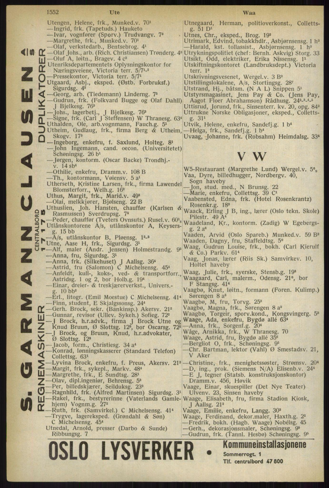 PUBL, Kristiania/Oslo adressebok, 1937, s. 1552