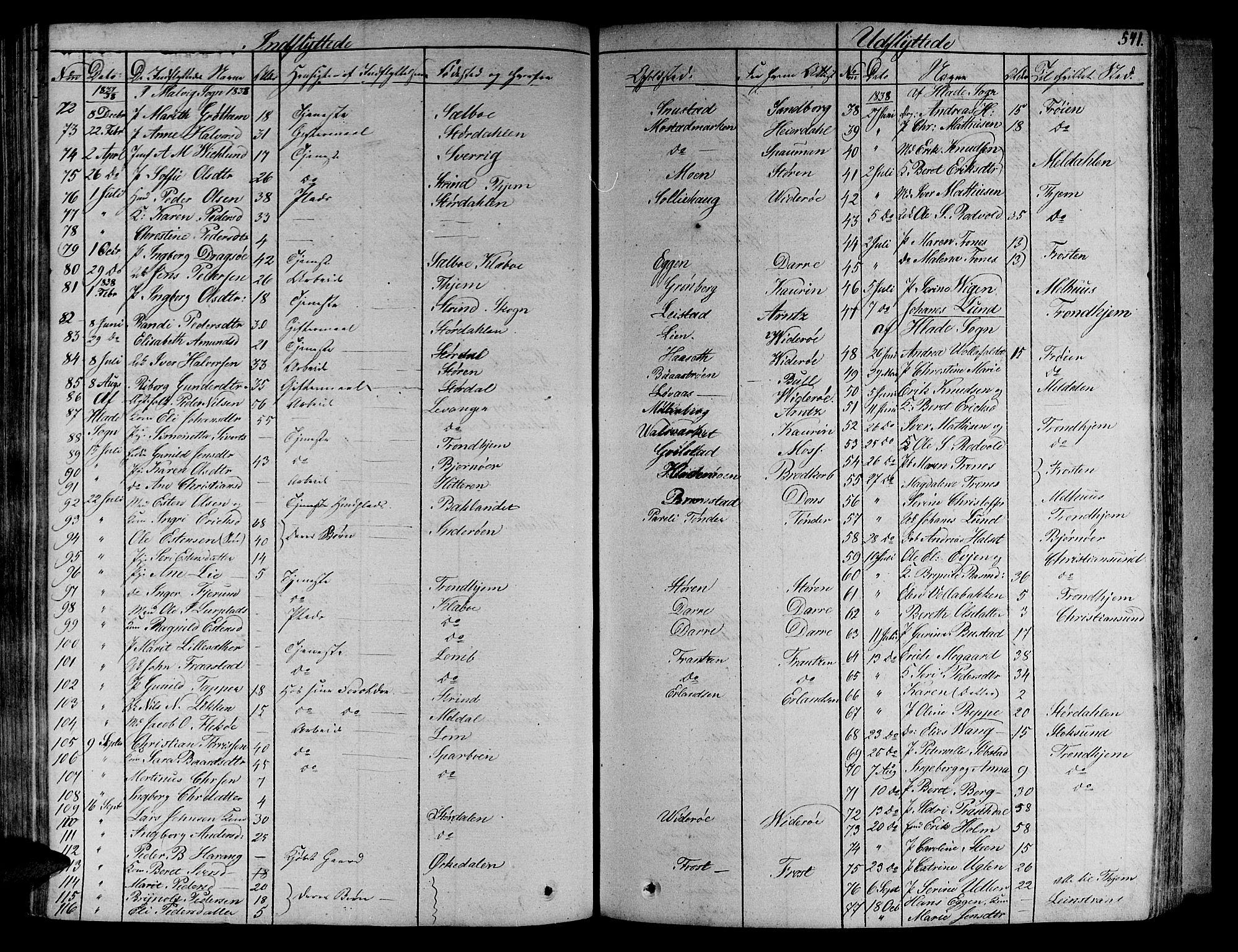 SAT, Ministerialprotokoller, klokkerbøker og fødselsregistre - Sør-Trøndelag, 606/L0286: Ministerialbok nr. 606A04 /1, 1823-1840, s. 541
