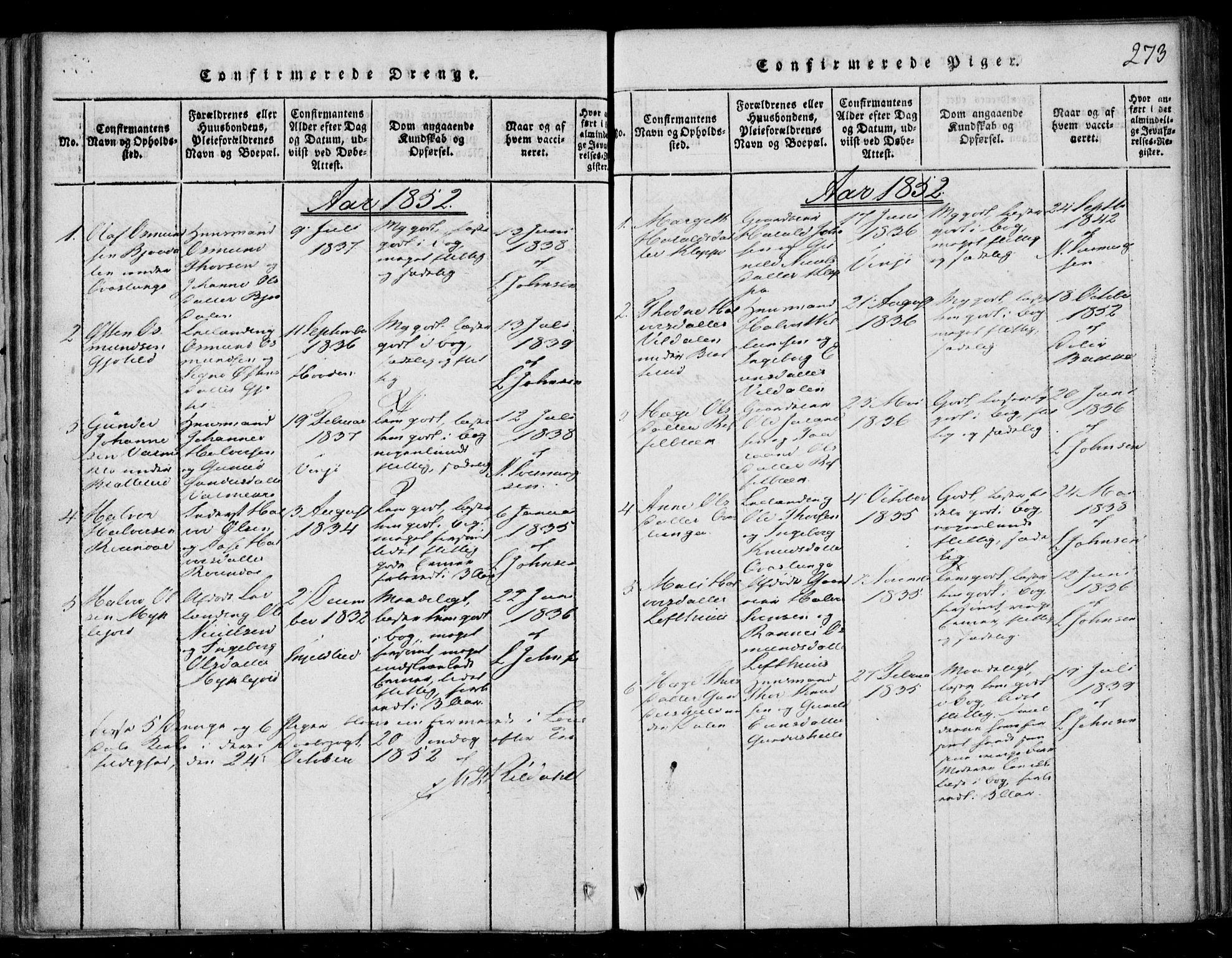 SAKO, Lårdal kirkebøker, F/Fb/L0001: Ministerialbok nr. II 1, 1815-1860, s. 273