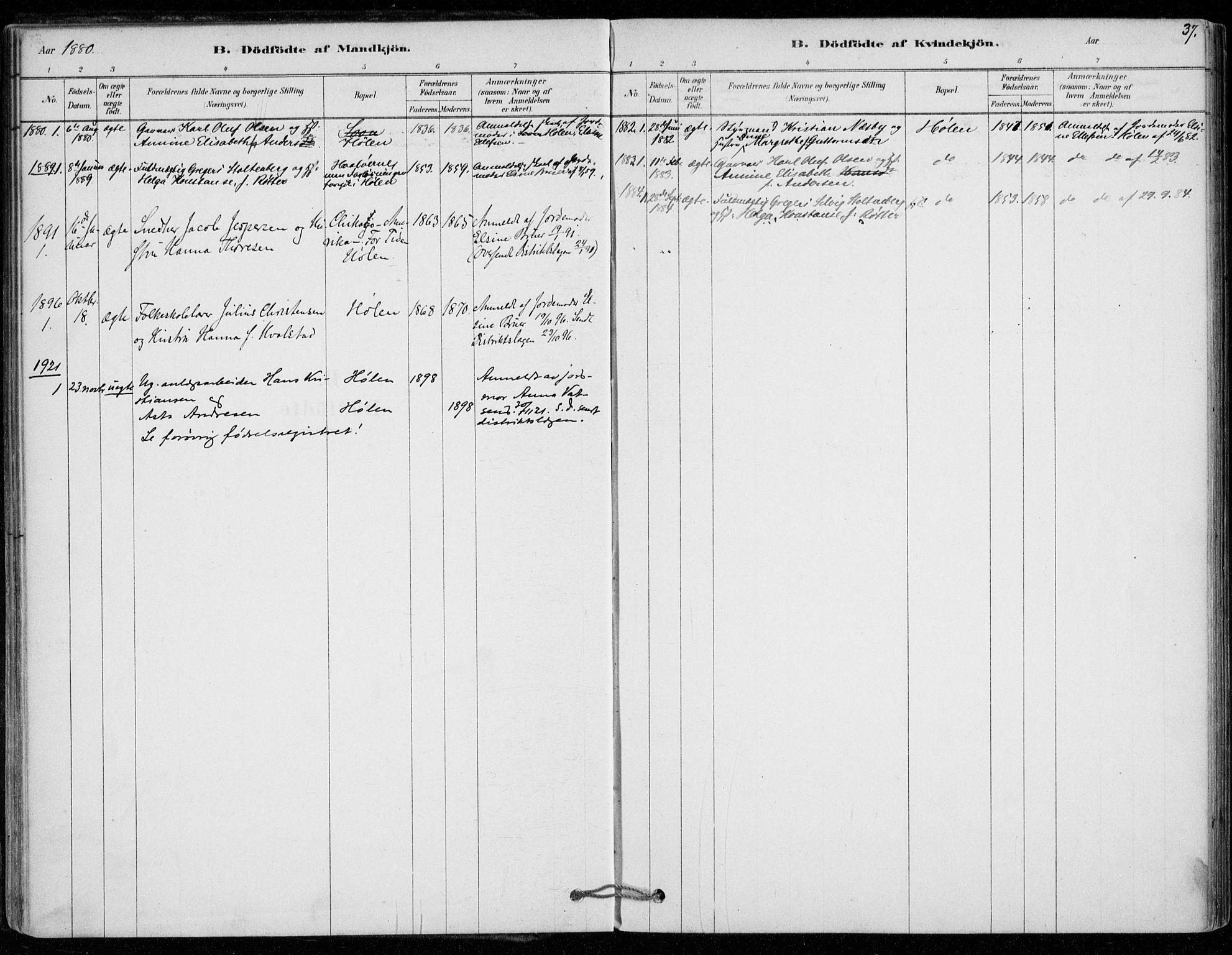 SAO, Vestby prestekontor Kirkebøker, F/Fe/L0001: Ministerialbok nr. V 1, 1878-1931, s. 37