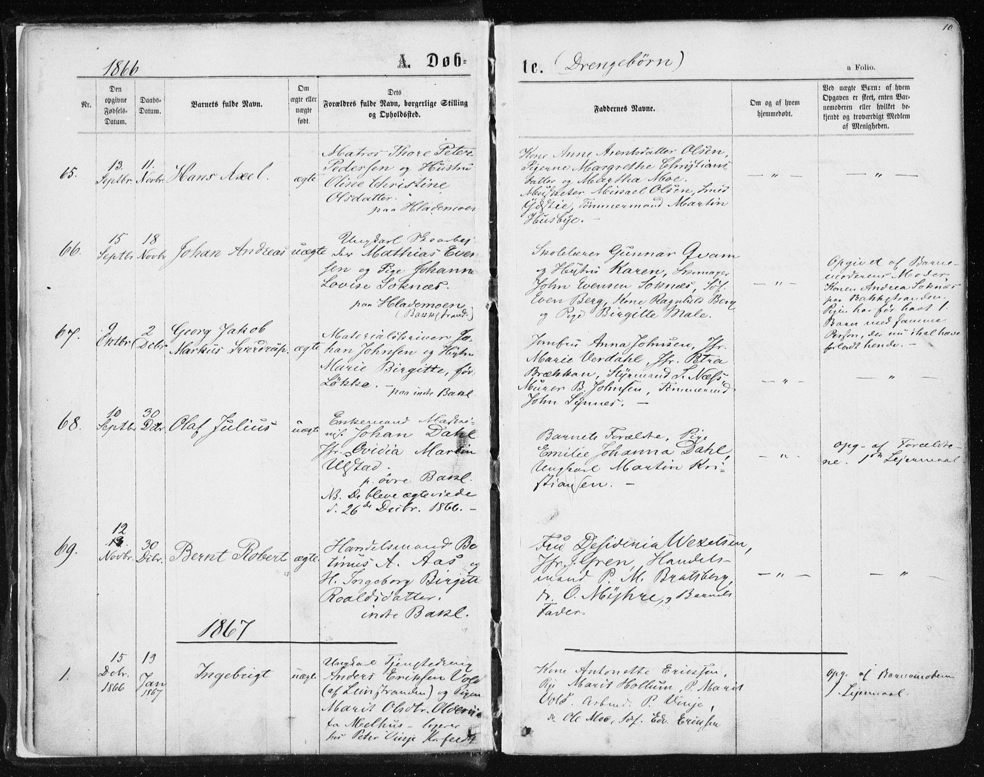 SAT, Ministerialprotokoller, klokkerbøker og fødselsregistre - Sør-Trøndelag, 604/L0186: Ministerialbok nr. 604A07, 1866-1877, s. 10