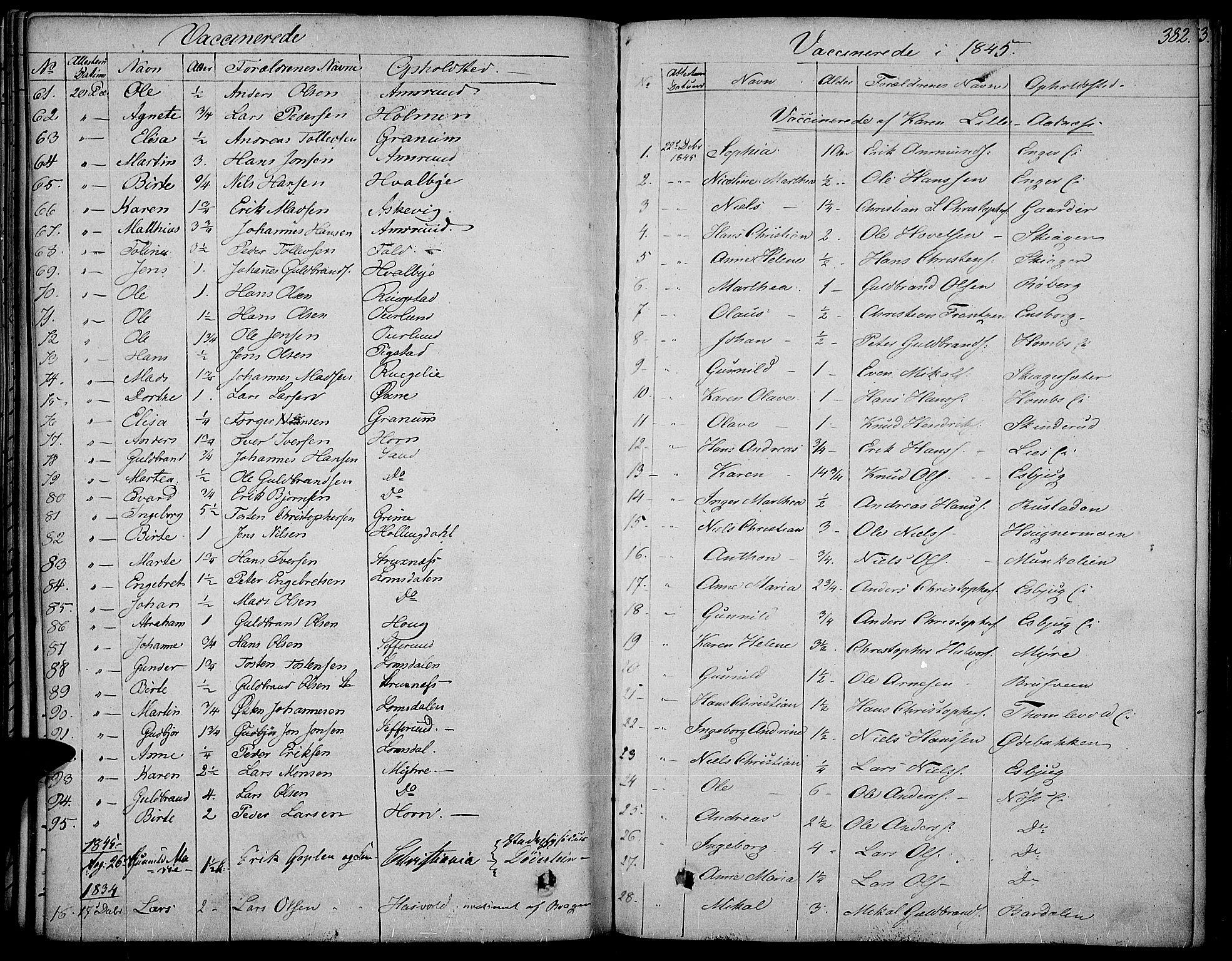 SAH, Land prestekontor, Ministerialbok nr. 8, 1830-1846, s. 382