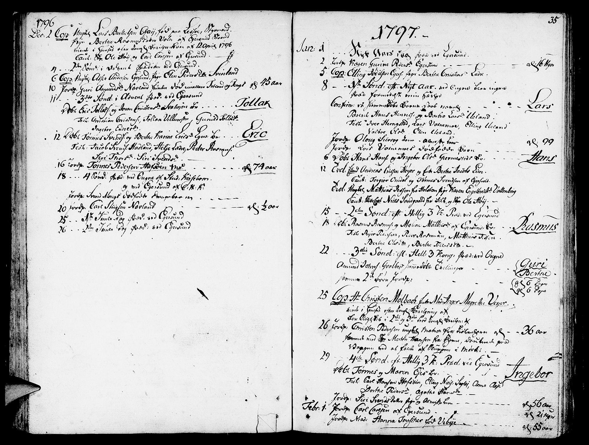 SAST, Egersund sokneprestkontor, Ministerialbok nr. A 5 /1, 1790-1808, s. 35