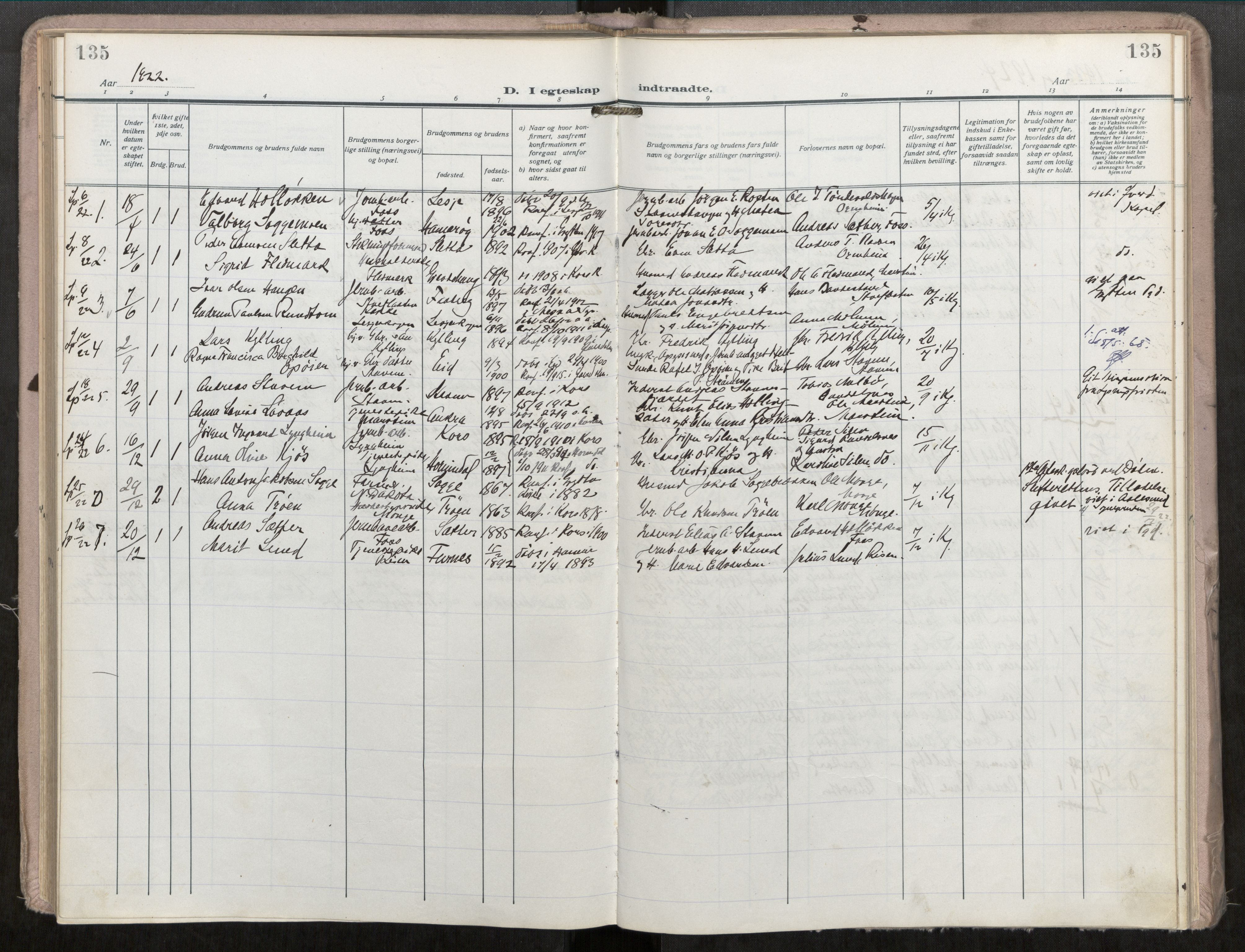 SAT, Grytten sokneprestkontor, Ministerialbok nr. 546A04, 1919-1956, s. 135