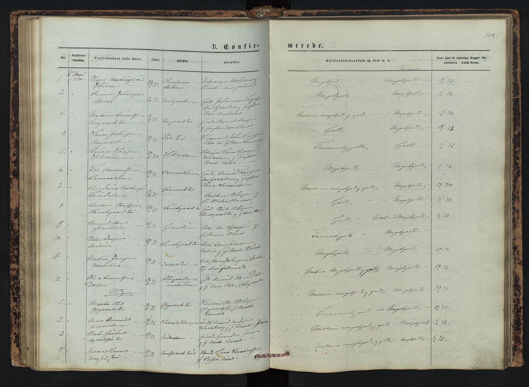SAH, Vestre Gausdal prestekontor, Klokkerbok nr. 2, 1874-1897, s. 109